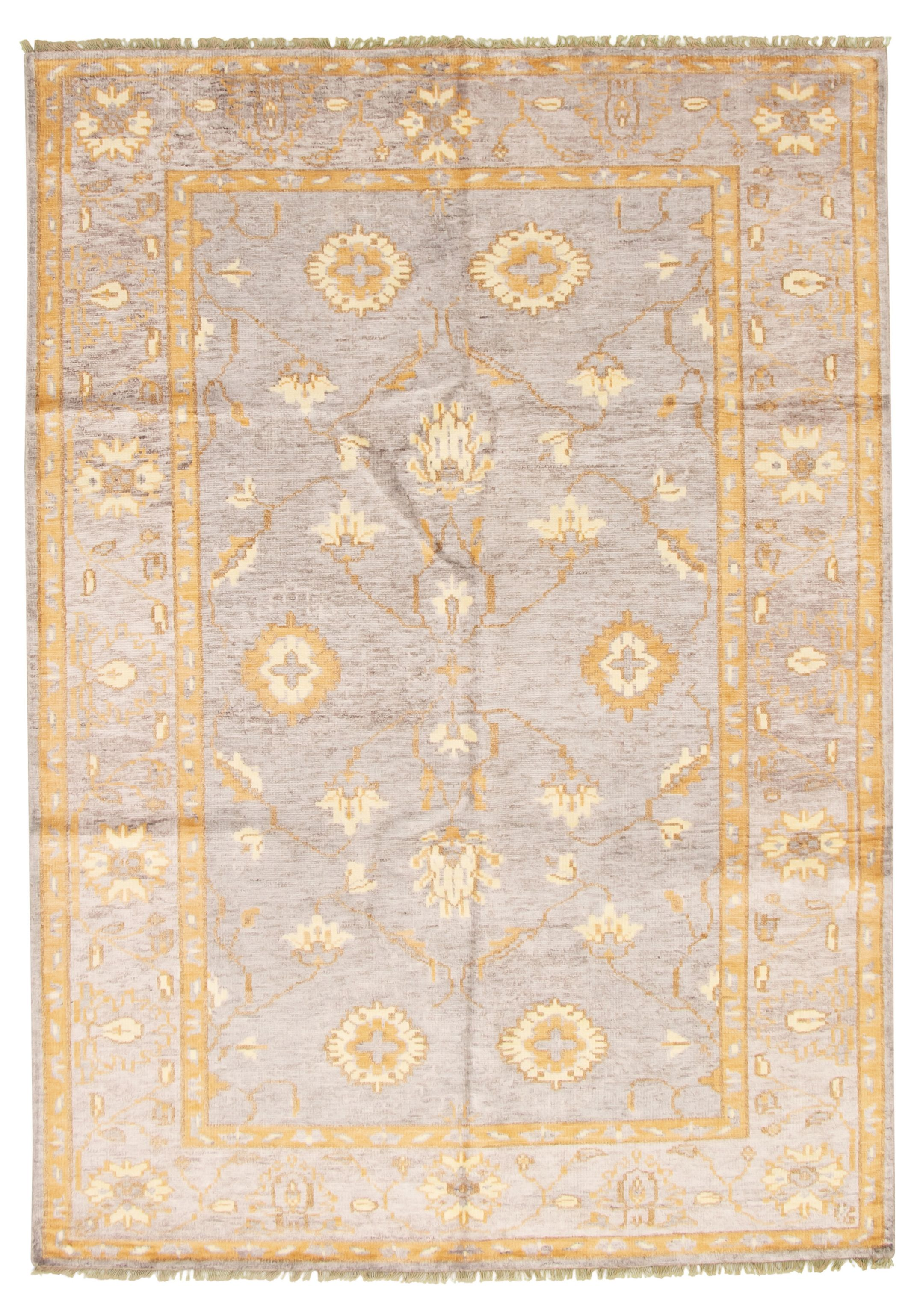 "Hand-knotted Jules Ushak Light Grey  Rug 6'11"" x 9'11"" Size: 6'11"" x 9'11"""