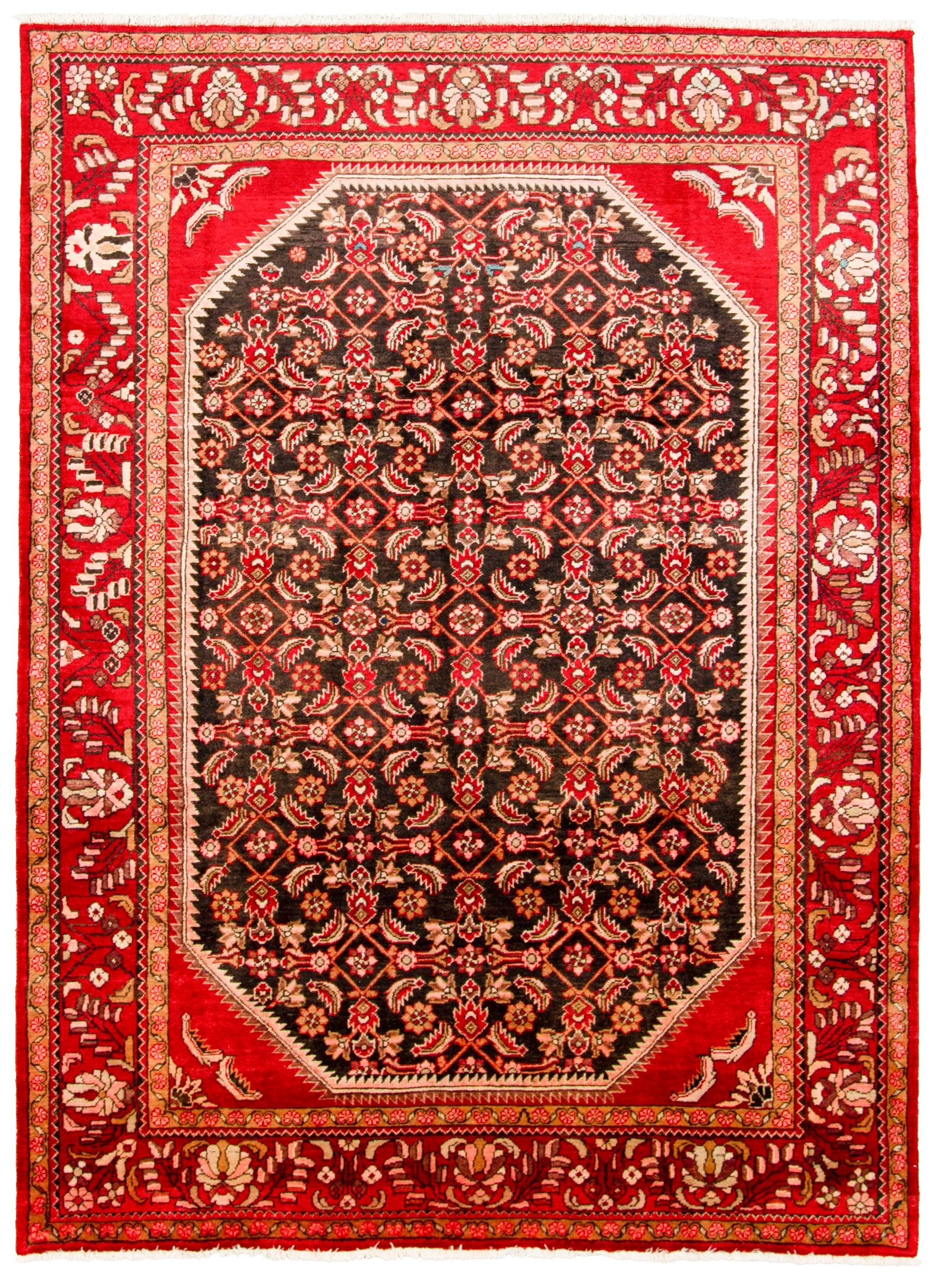 """Hand-knotted Arak  Wool Rug 7'1"""" x 9'10"""" Size: 7'1"""" x 9'10"""""""