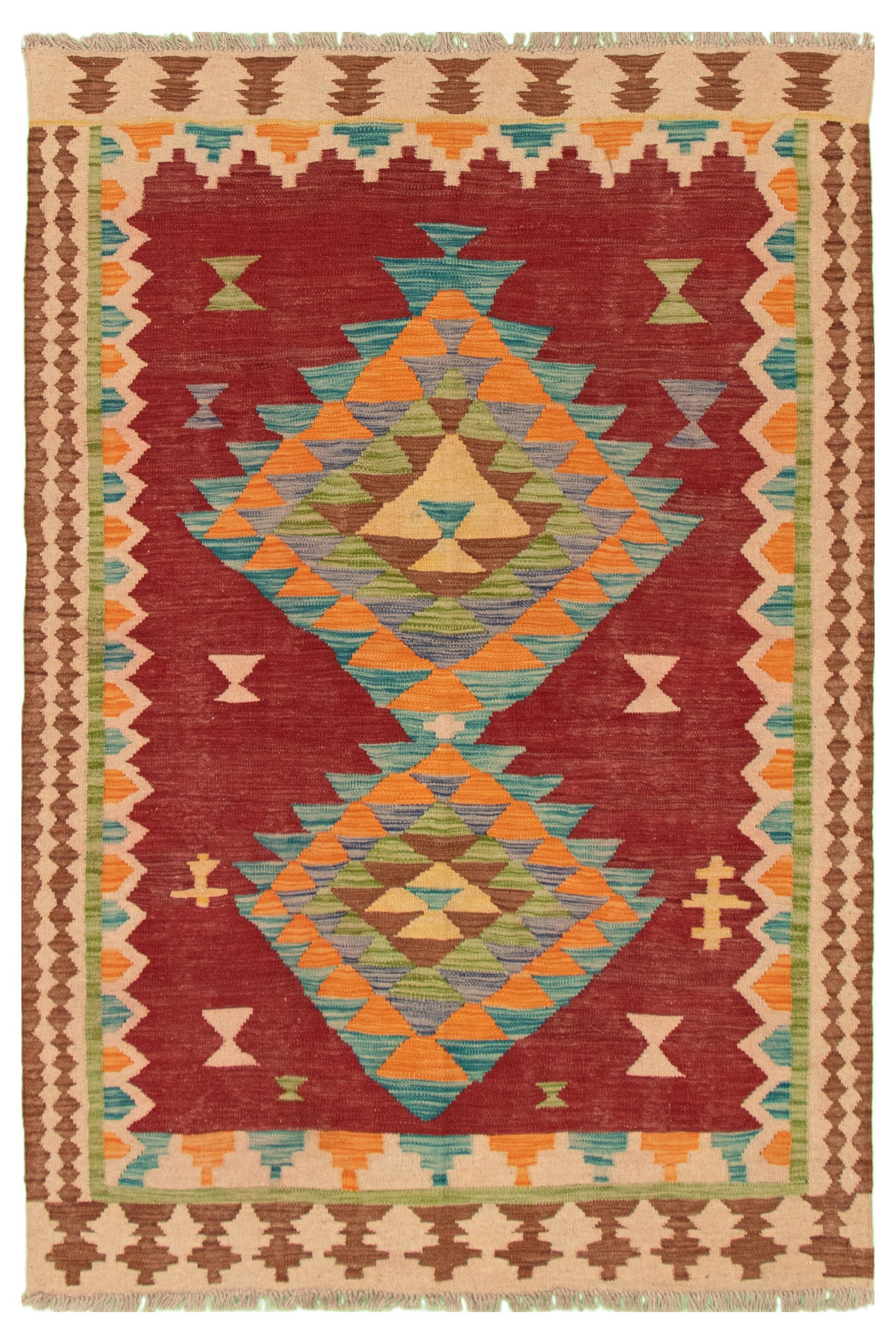 "Hand woven Bold and Colorful  Dark Red Wool Kilim 4'10"" x 6'6"" Size: 4'10"" x 6'6"""