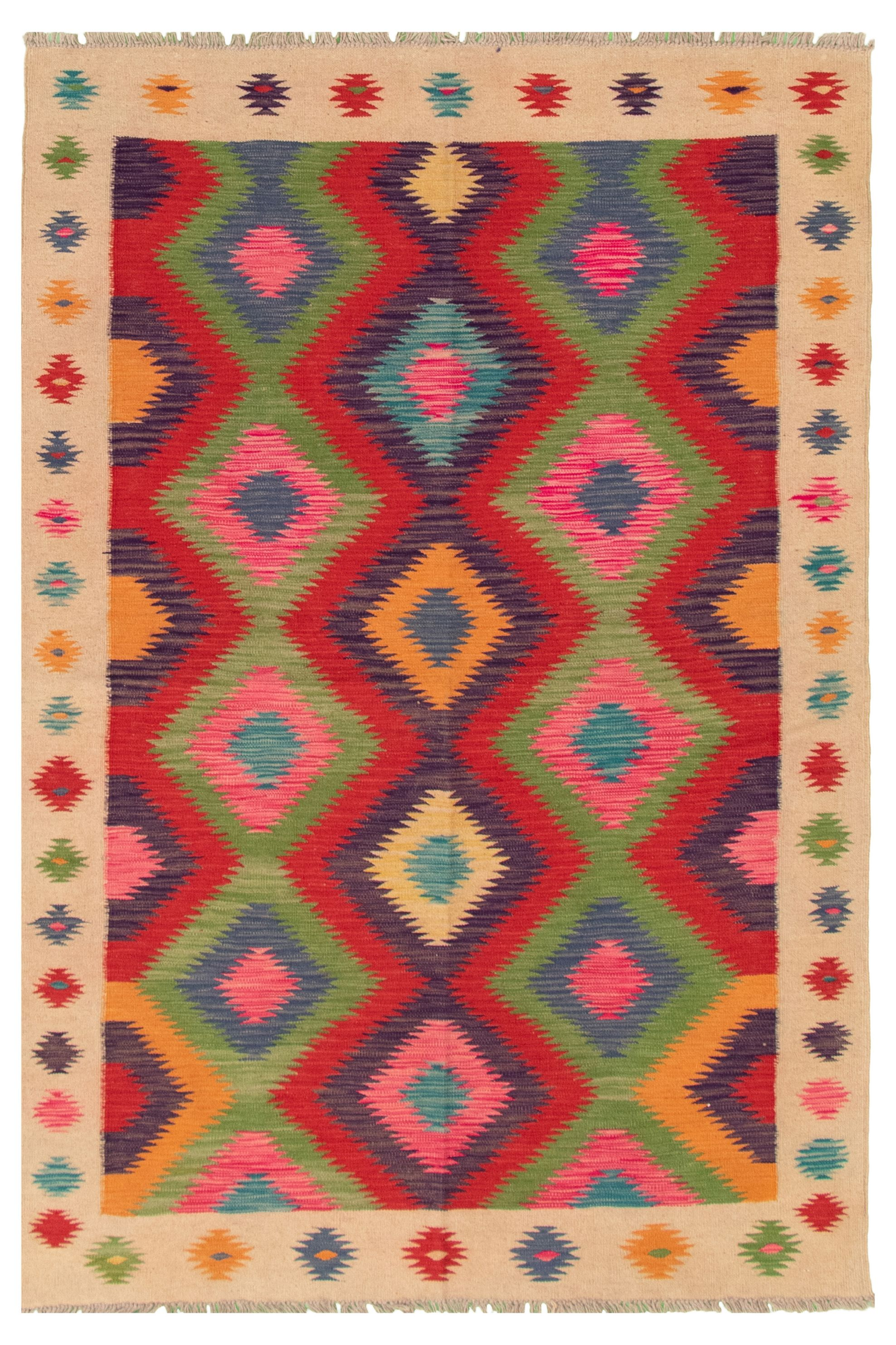 "Hand woven Bold and Colorful  Dark Red Wool Kilim 4'9"" x 6'9"" Size: 4'9"" x 6'9"""