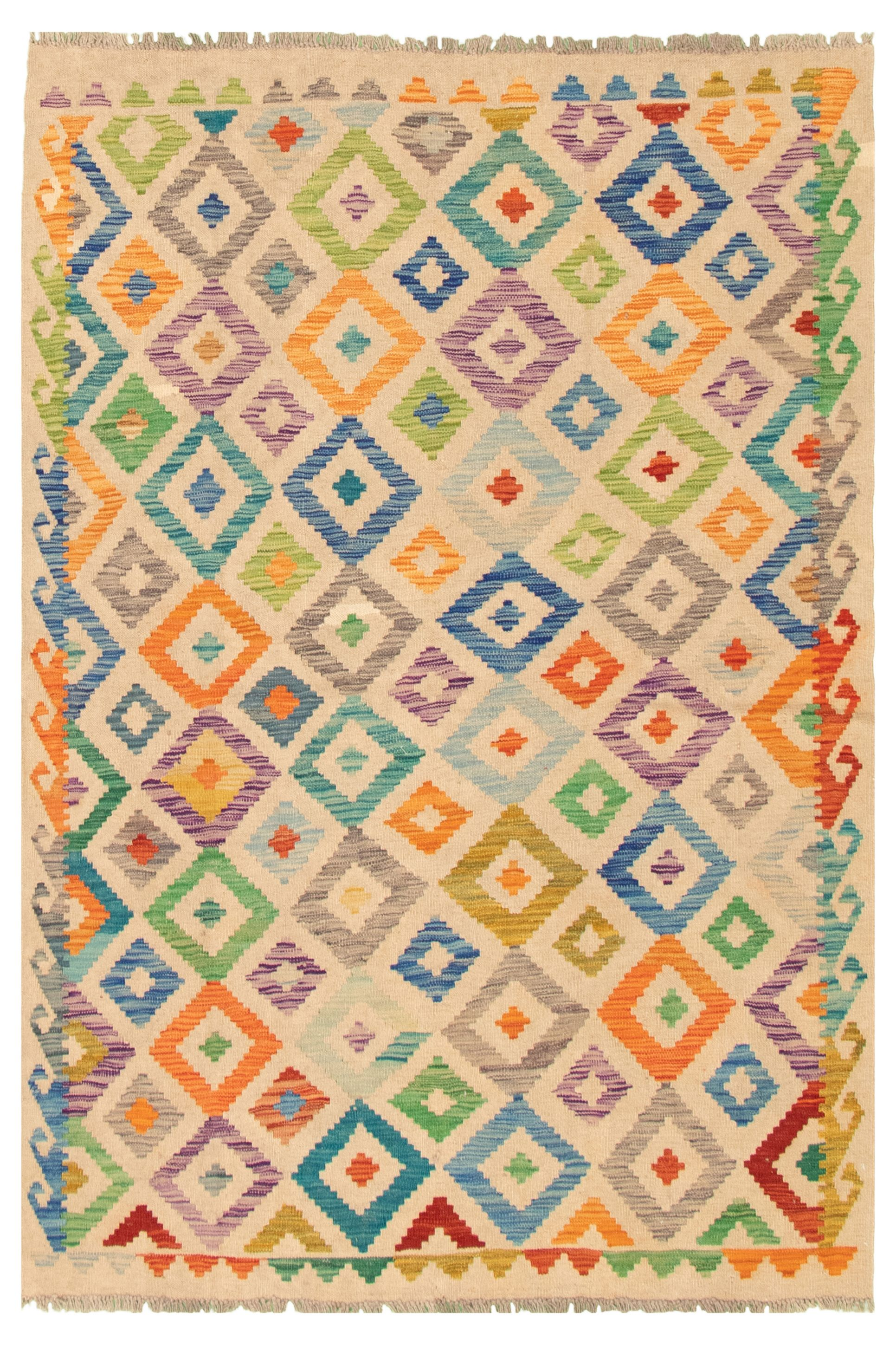 """Hand woven Bold and Colorful  Beige Wool Kilim 5'1"""" x 6'5"""" Size: 5'1"""" x 6'5"""""""