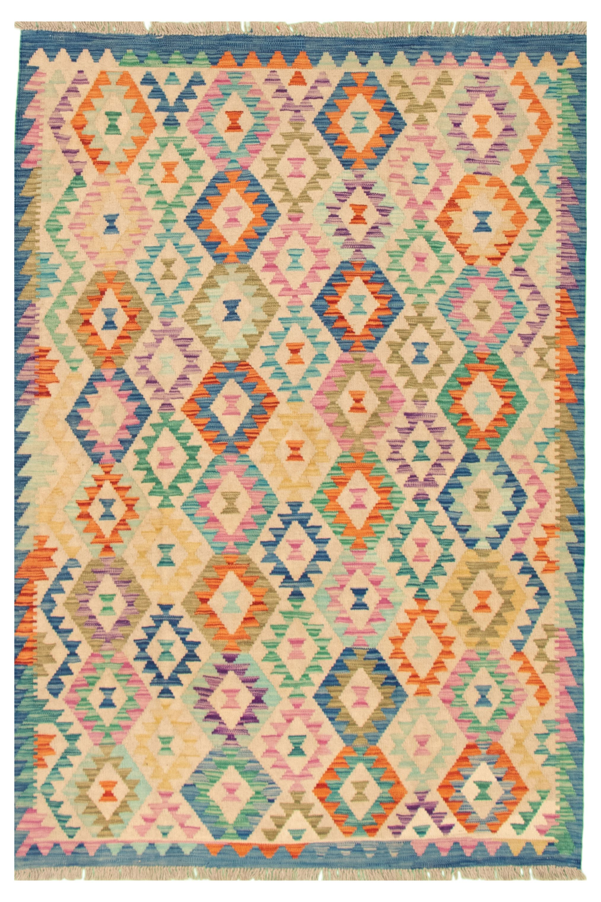 "Hand woven Bold and Colorful  Beige, Blue Wool Kilim 5'1"" x 6'7"" Size: 5'1"" x 6'7"""