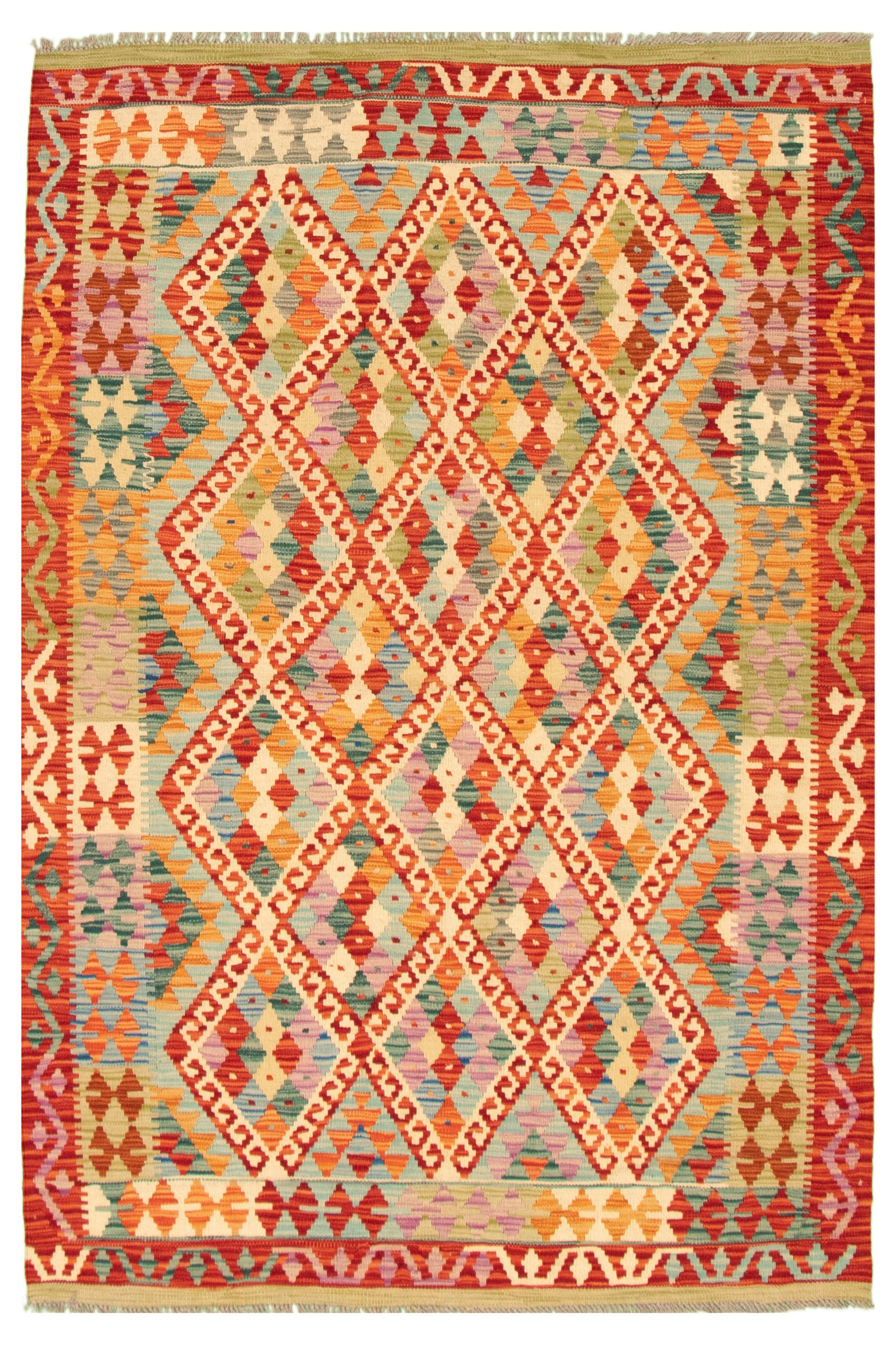 "Hand woven Bold and Colorful  Red Wool Kilim 5'1"" x 6'6"" Size: 5'1"" x 6'6"""