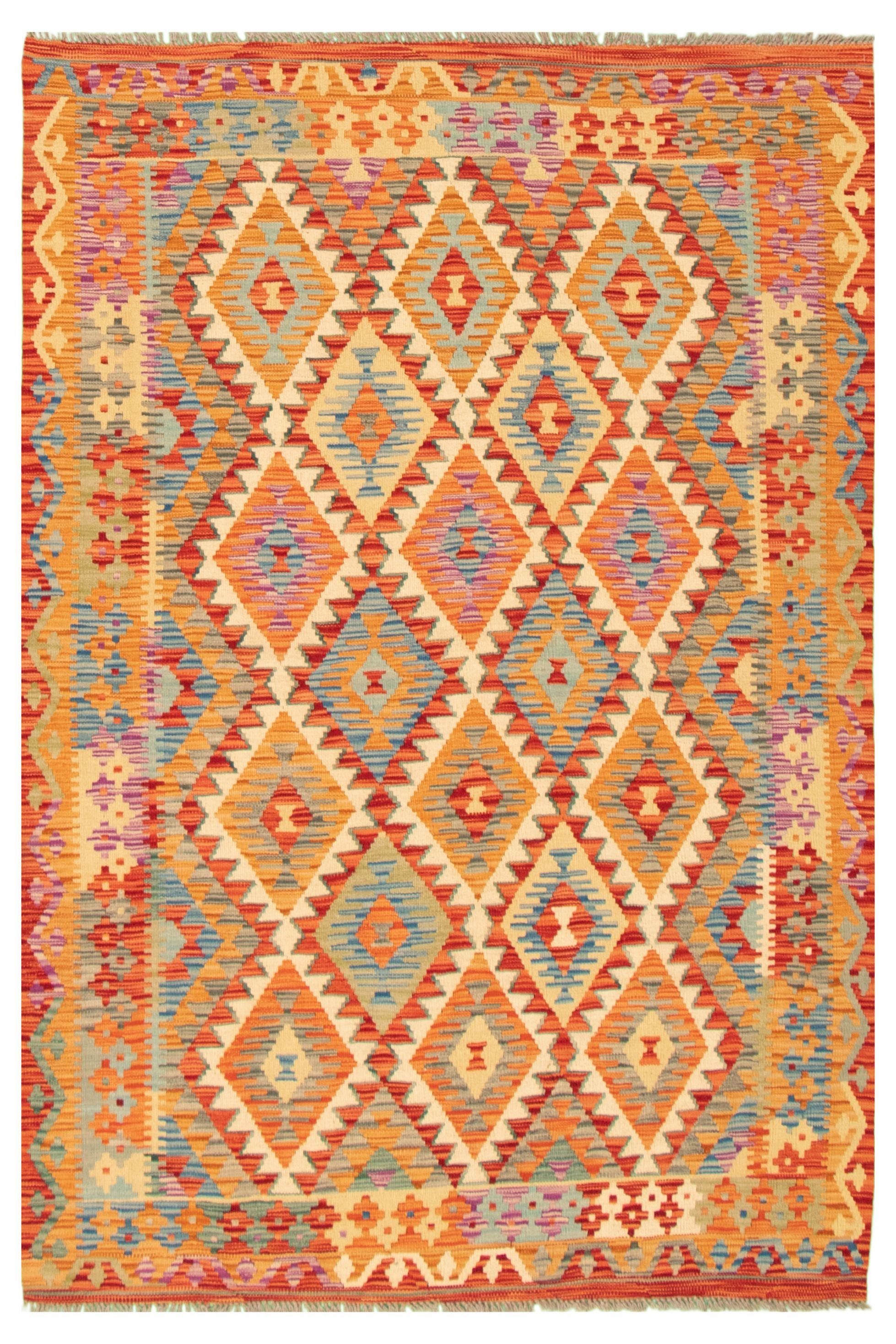 "Hand woven Bold and Colorful  Red Wool Kilim 5'1"" x 6'9"" Size: 5'1"" x 6'9"""