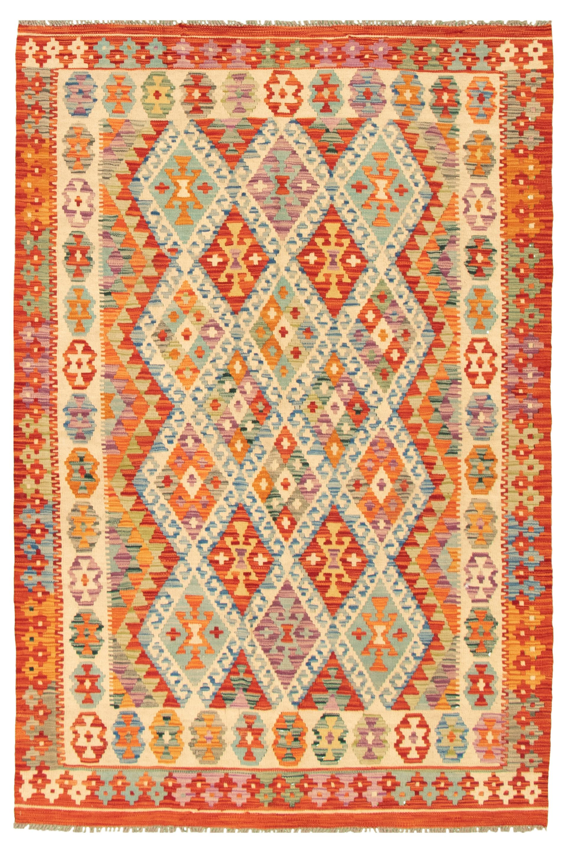 "Hand woven Bold and Colorful  Ivory, Red Wool Kilim 5'0"" x 6'10"" Size: 5'0"" x 6'10"""