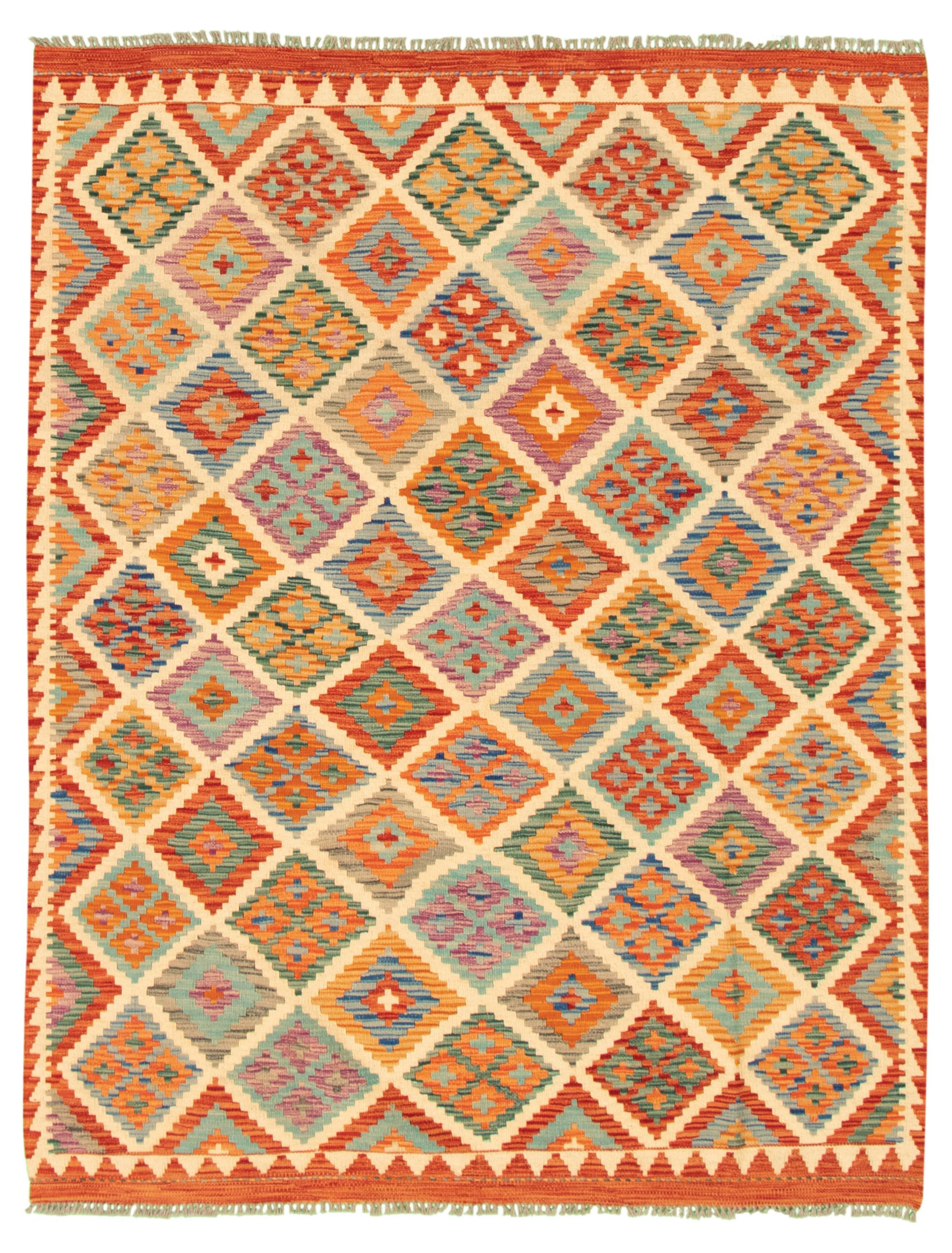 "Hand woven Bold and Colorful  Ivory, Red Wool Kilim 5'1"" x 6'7"" Size: 5'1"" x 6'7"""