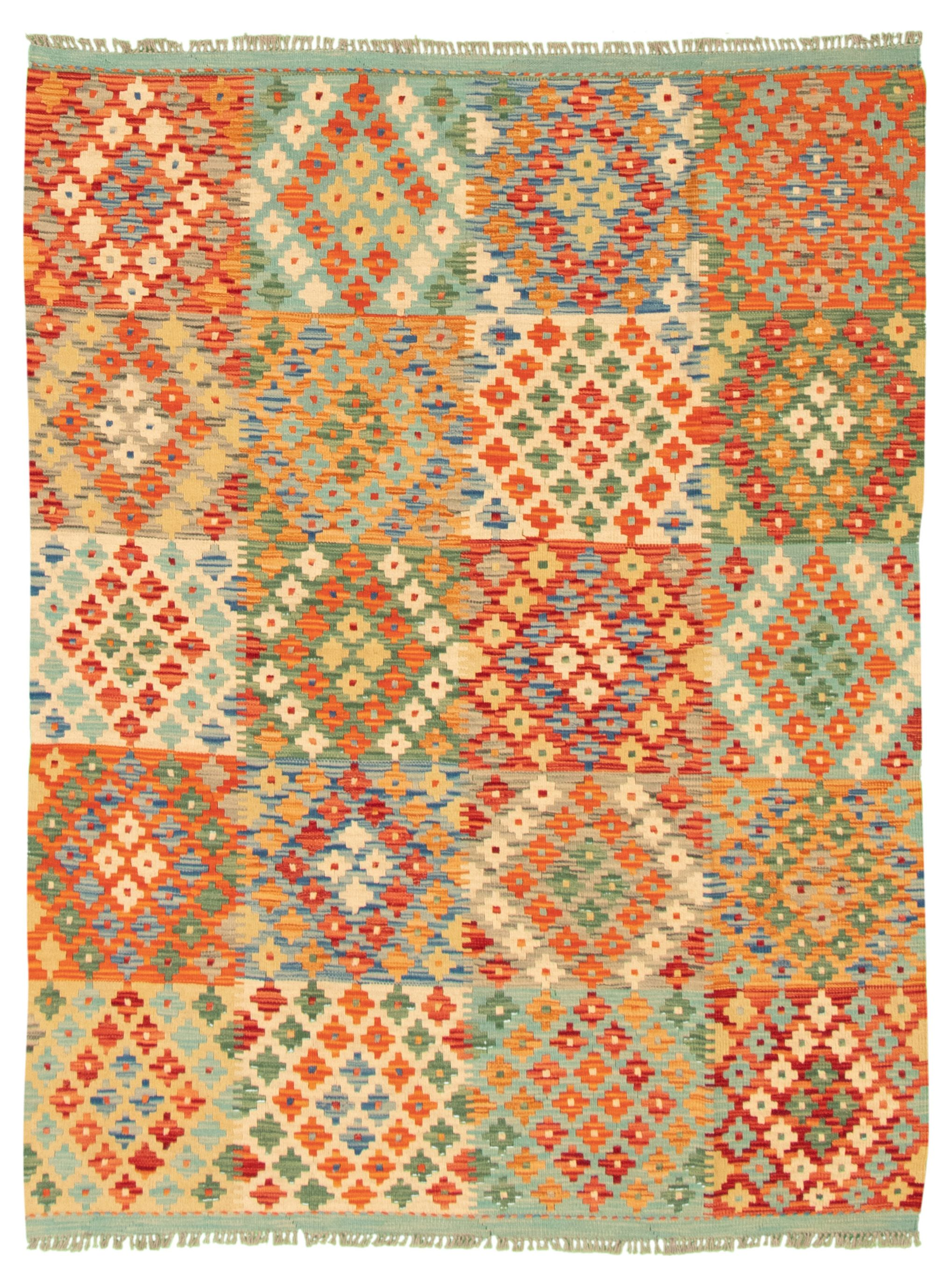 "Hand woven Bold and Colorful  Ivory, Red Wool Kilim 5'0"" x 6'6"" Size: 5'0"" x 6'6"""