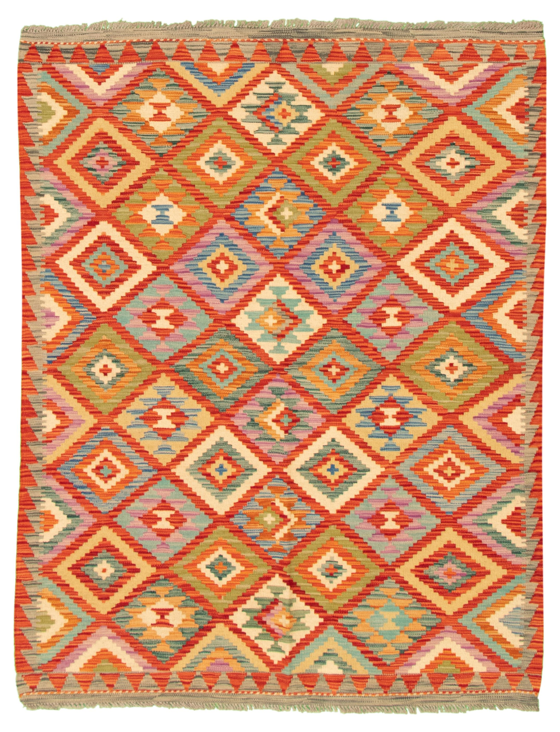 "Hand woven Bold and Colorful  Red Wool Kilim 5'0"" x 6'6"" Size: 5'0"" x 6'6"""