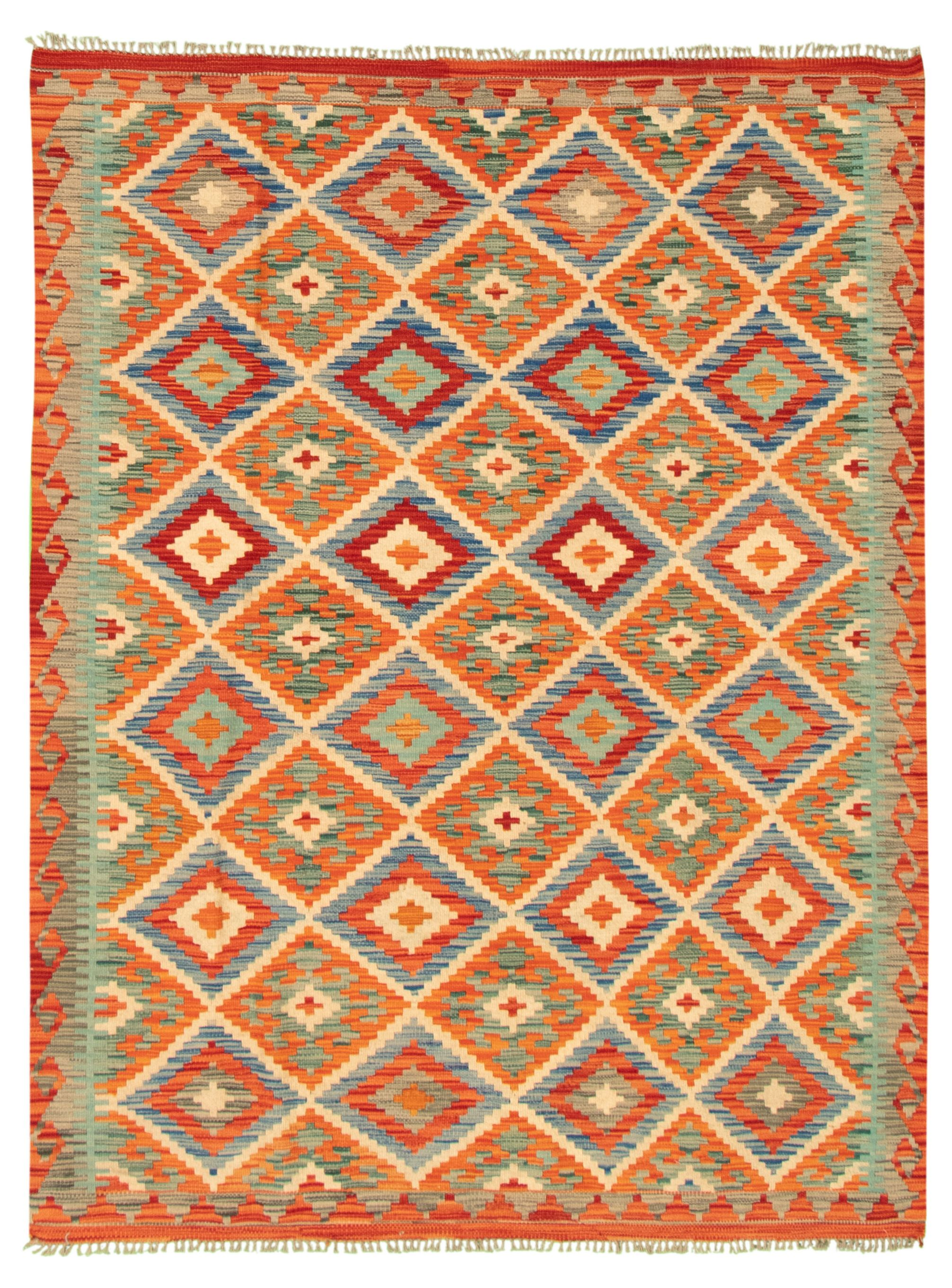 "Hand woven Bold and Colorful  Red Wool Kilim 5'0"" x 6'7"" Size: 5'0"" x 6'7"""