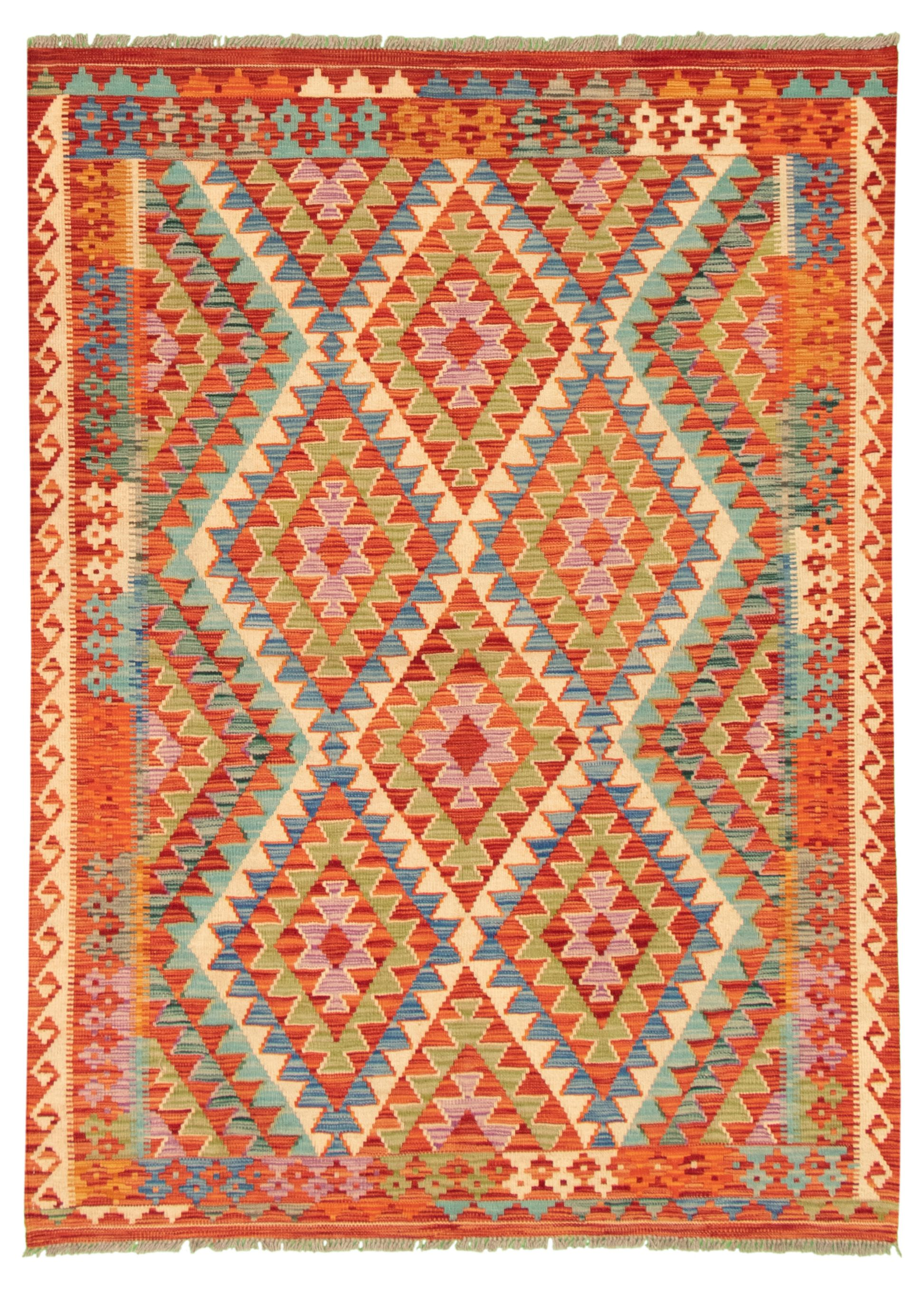 "Hand woven Bold and Colorful  Red Wool Kilim 4'10"" x 6'9"" Size: 4'10"" x 6'9"""