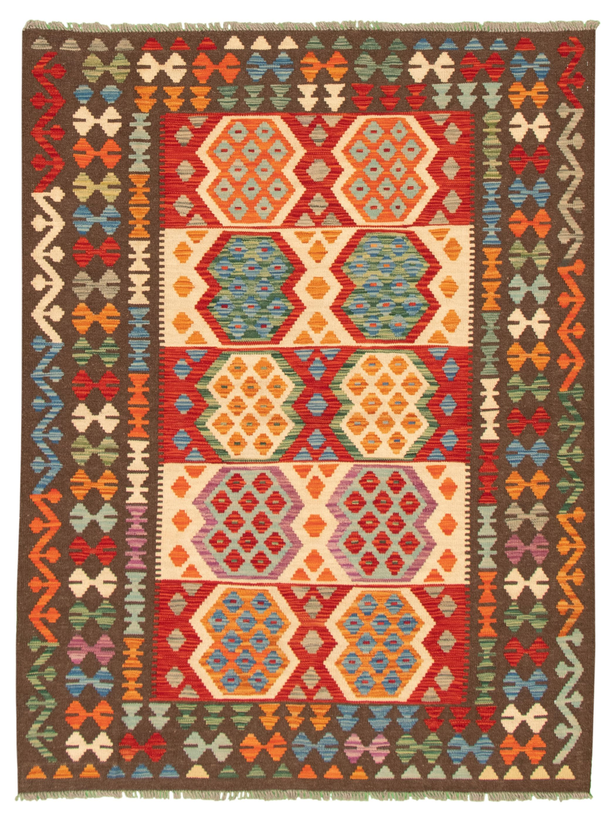 "Hand woven Bold and Colorful  Dark Red, Ivory Wool Kilim 5'1"" x 6'7"" Size: 5'1"" x 6'7"""