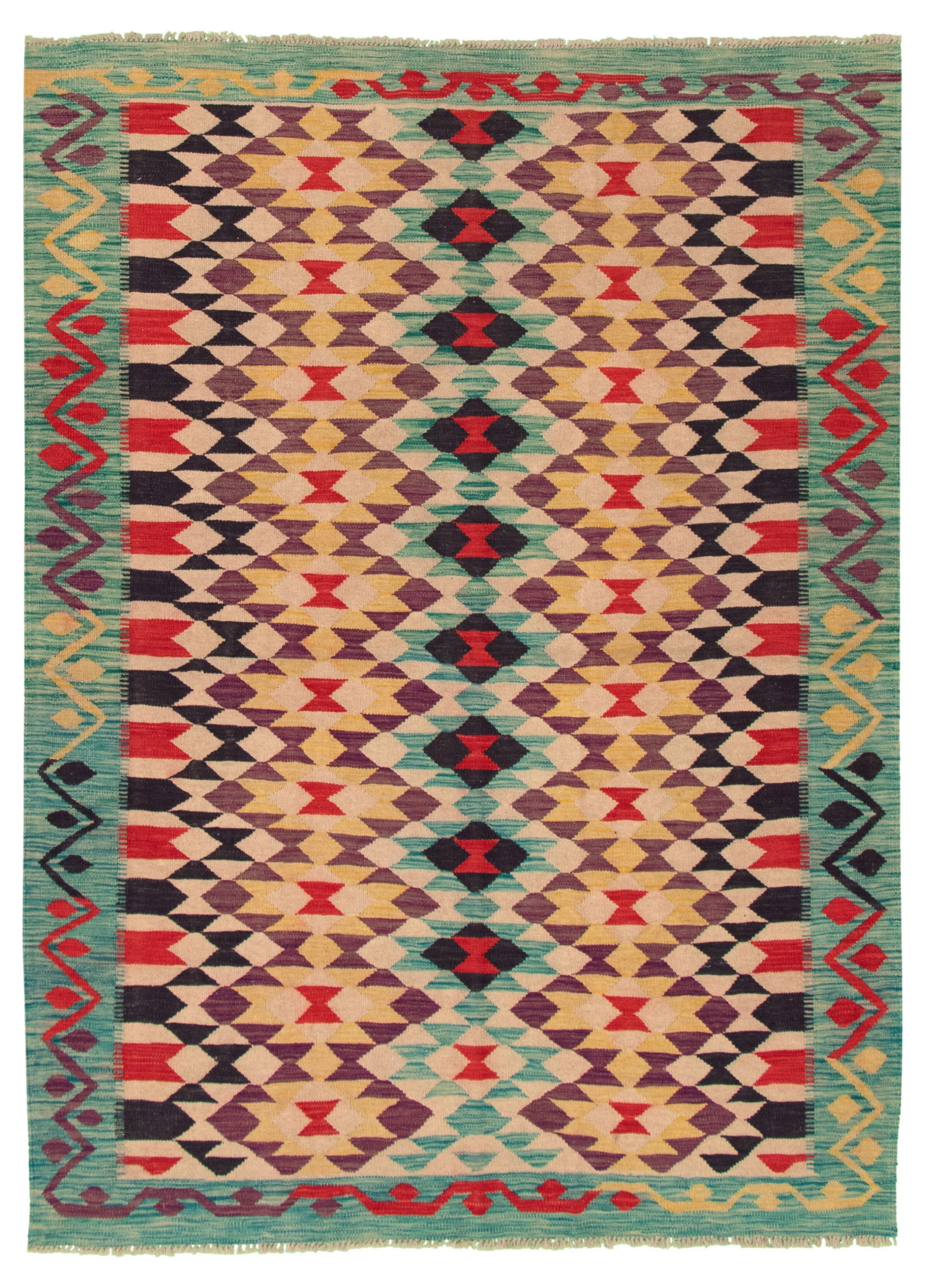 """Hand woven Old Style Beige, Turquoise Wool Kilim 6'0"""" x 8'3"""" Size: 6'0"""" x 8'3"""""""