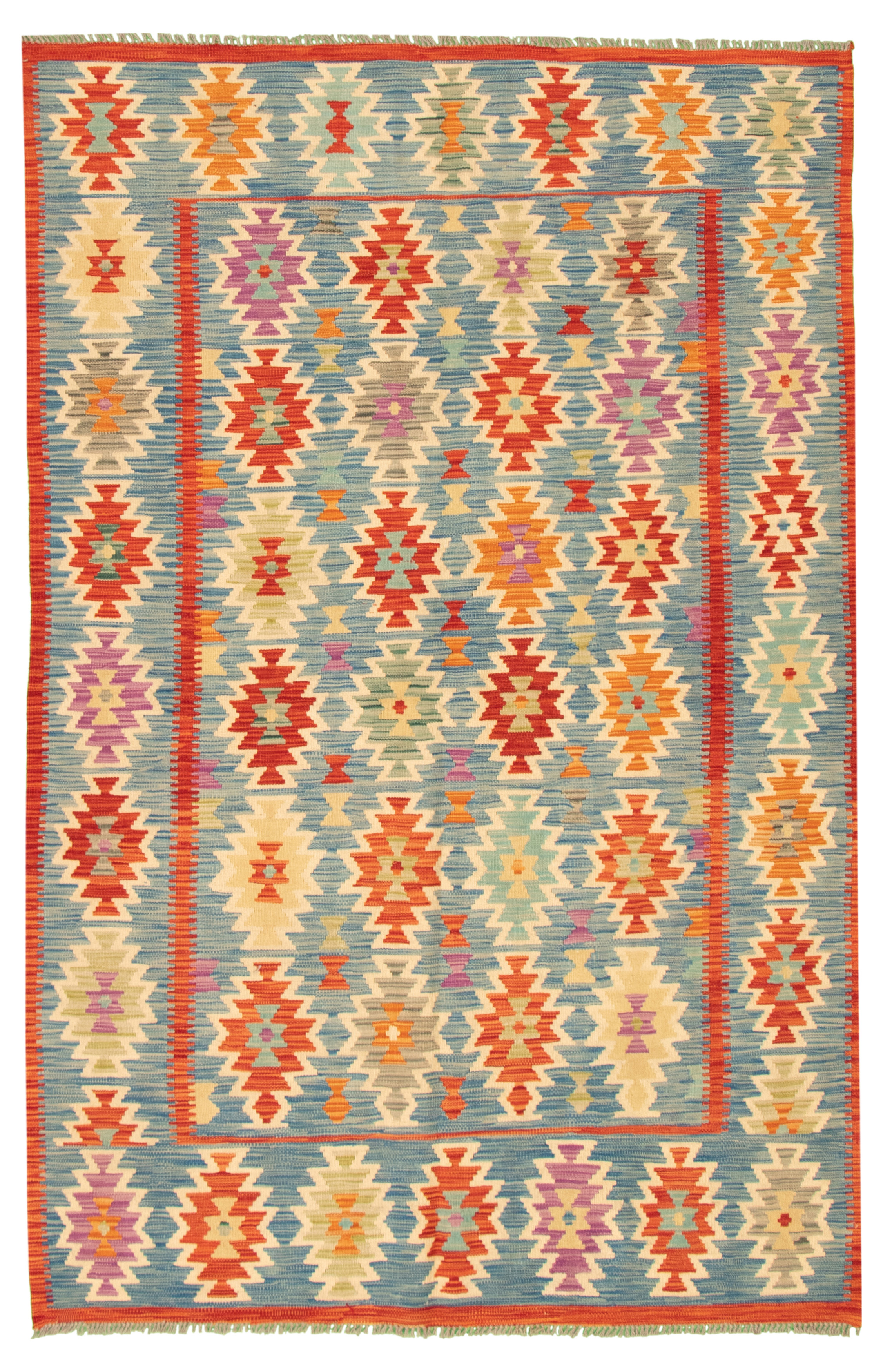 """Hand woven Bold and Colorful  Blue Wool Kilim 5'5"""" x 8'3"""" Size: 5'5"""" x 8'3"""""""