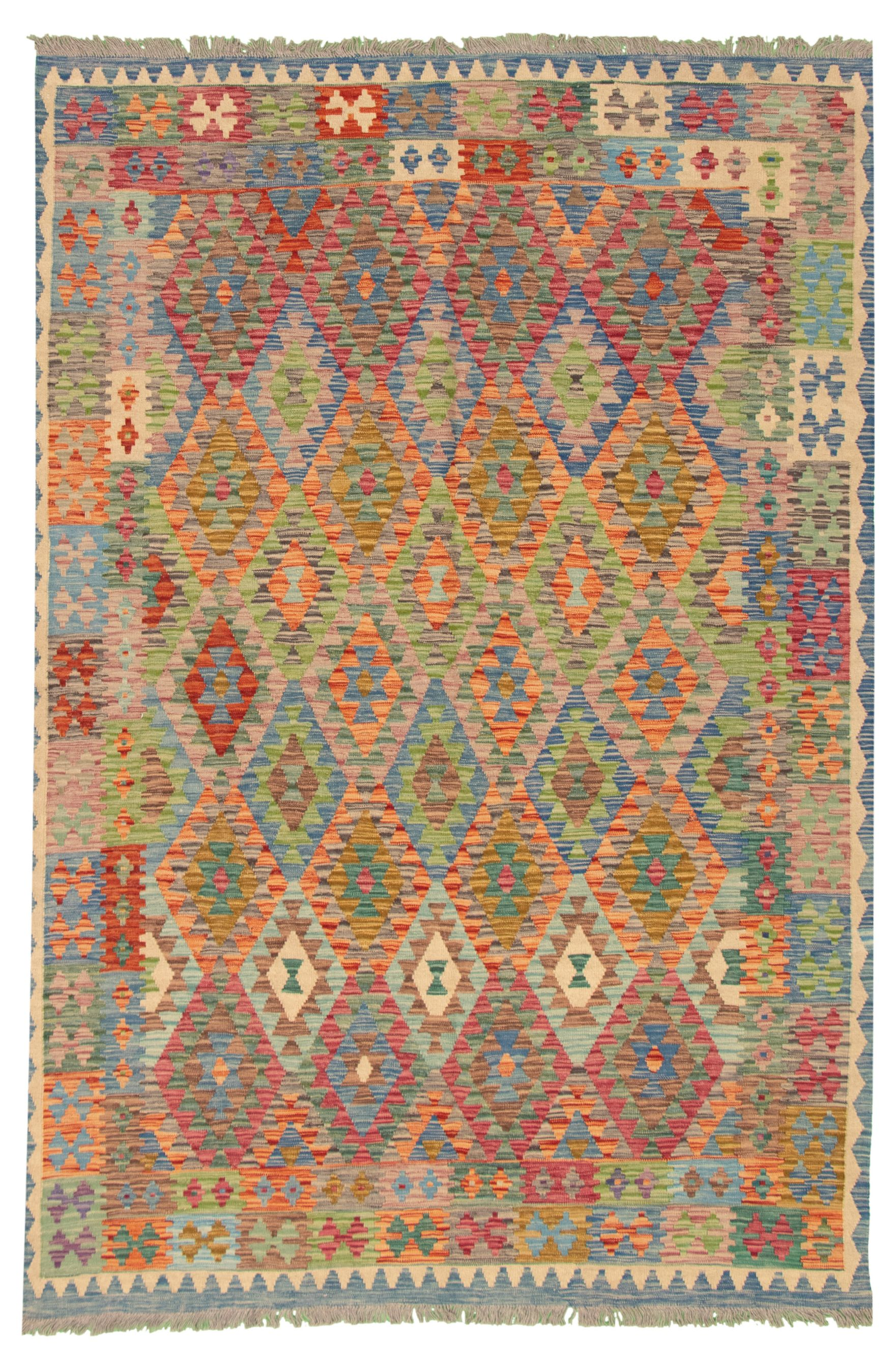 """Hand woven Bold and Colorful  Dark Blue Wool Kilim 6'8"""" x 9'10"""" Size: 6'8"""" x 9'10"""""""