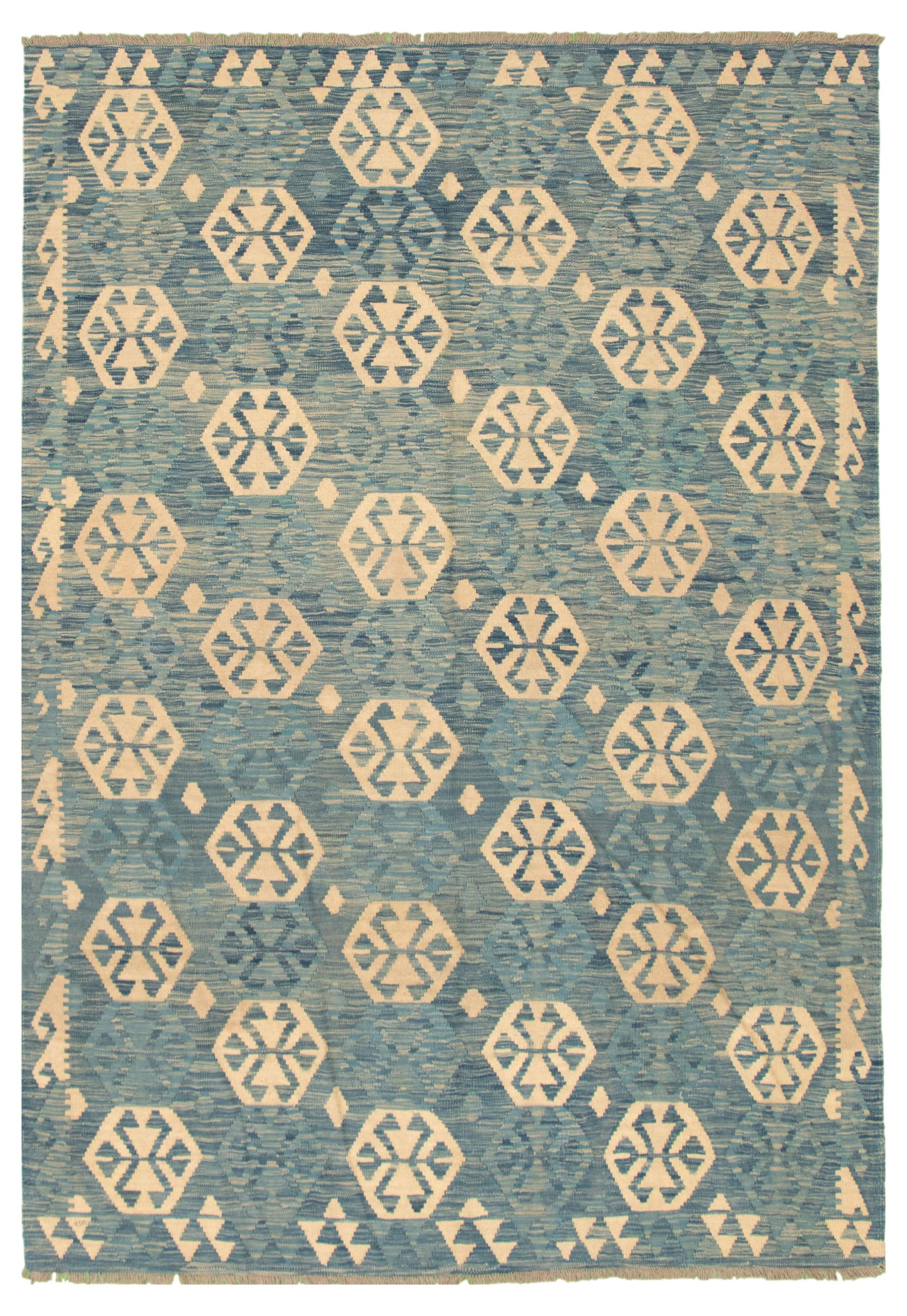 """Hand woven Old Style Navy Blue Wool Kilim 6'8"""" x 9'8"""" Size: 6'8"""" x 9'8"""""""