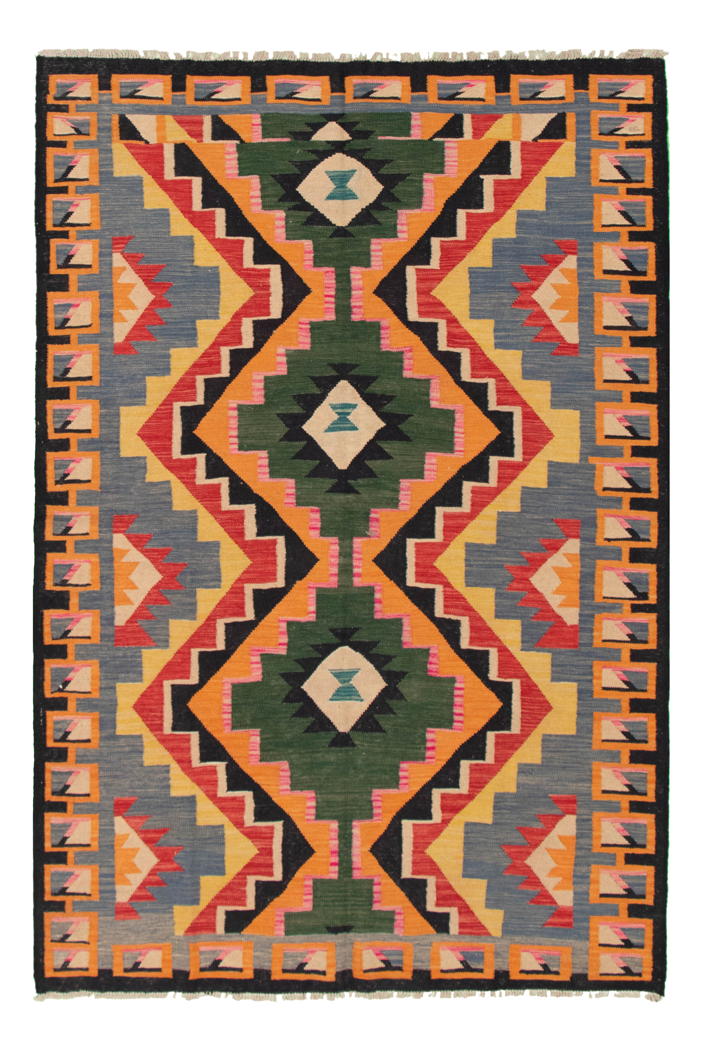 """Hand woven Old Style Red, Slate Blue Wool Kilim 5'11"""" x 8'8"""" Size: 5'11"""" x 8'8"""""""