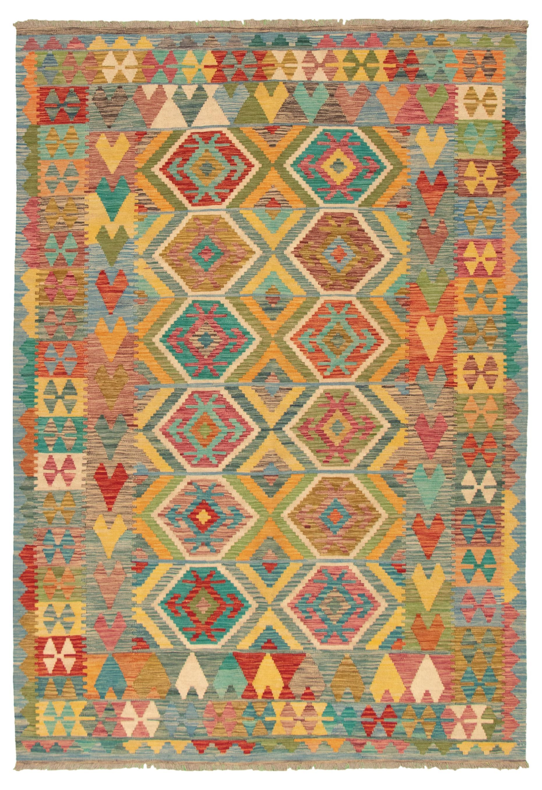 """Hand woven Bold and Colorful  Blue, Red Wool Kilim 6'7"""" x 9'9"""" Size: 6'7"""" x 9'9"""""""