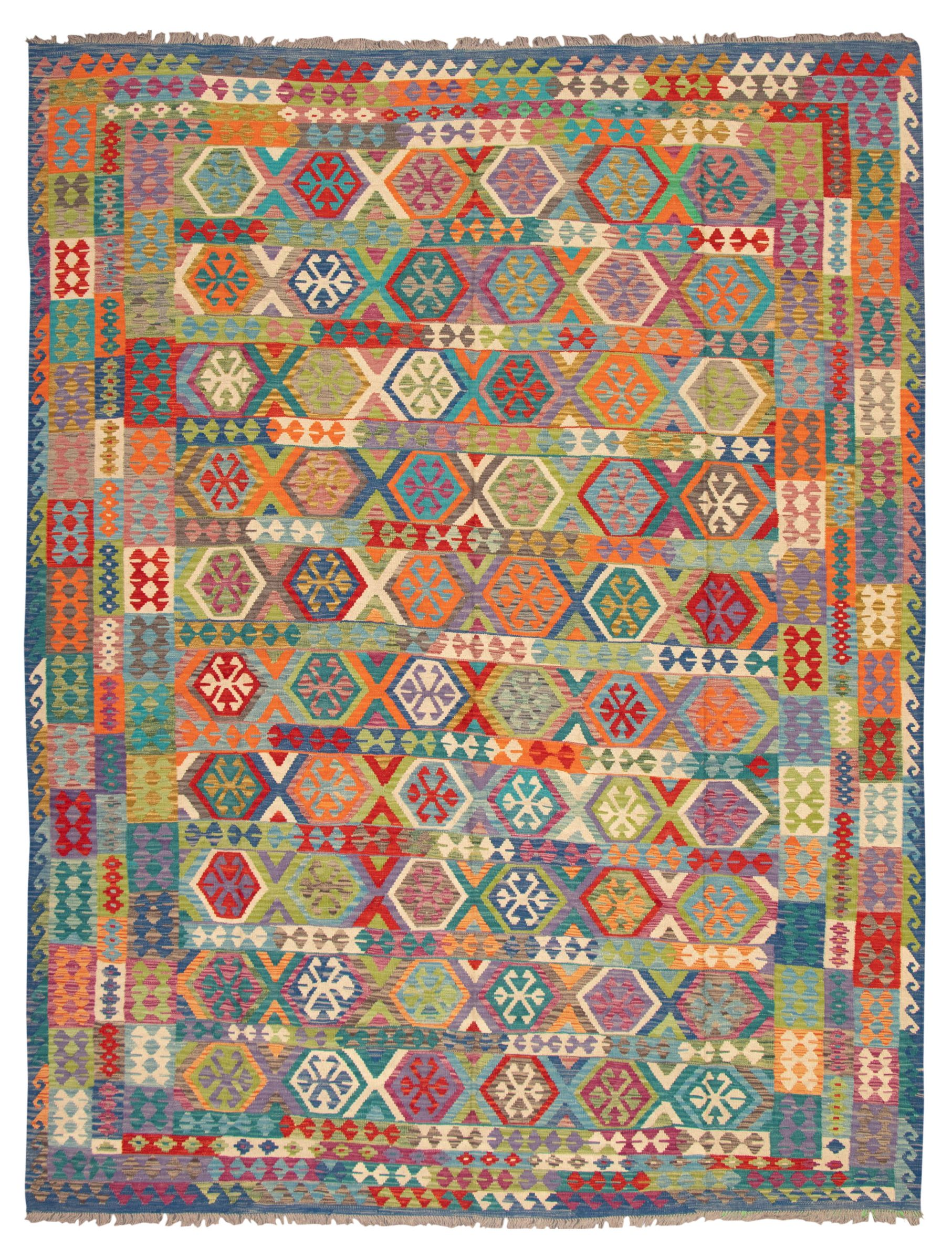 """Hand woven Bold and Colorful  Dark Blue, Red Wool Kilim 10'0"""" x 13'0"""" Size: 10'0"""" x 13'0"""""""
