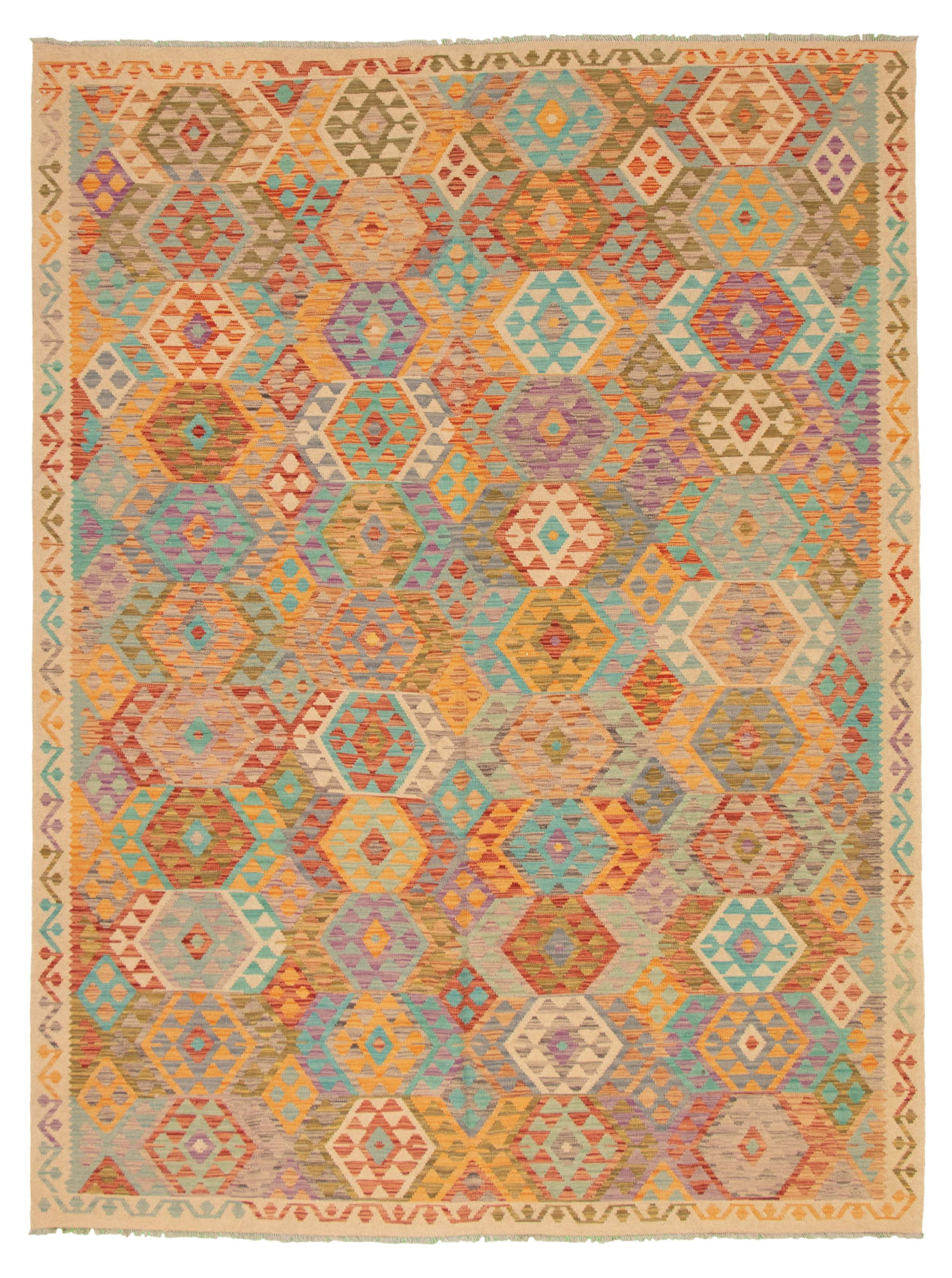 """Hand woven Bold and Colorful  Beige, Light Orange Wool Kilim 8'5"""" x 11'5"""" Size: 8'5"""" x 11'5"""""""