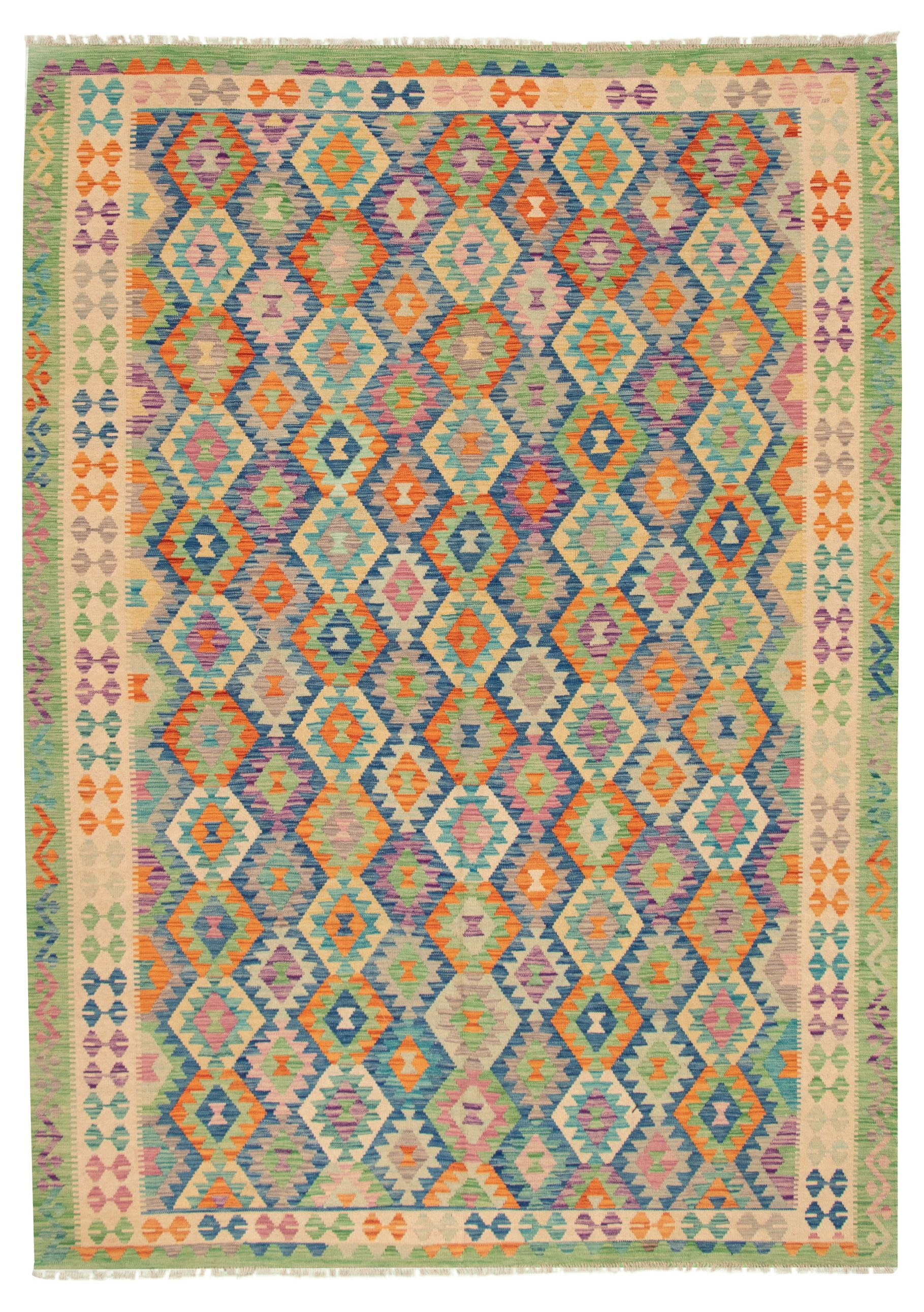 """Hand woven Bold and Colorful  Dark Blue Wool Kilim 8'2"""" x 11'5"""" Size: 8'2"""" x 11'5"""""""