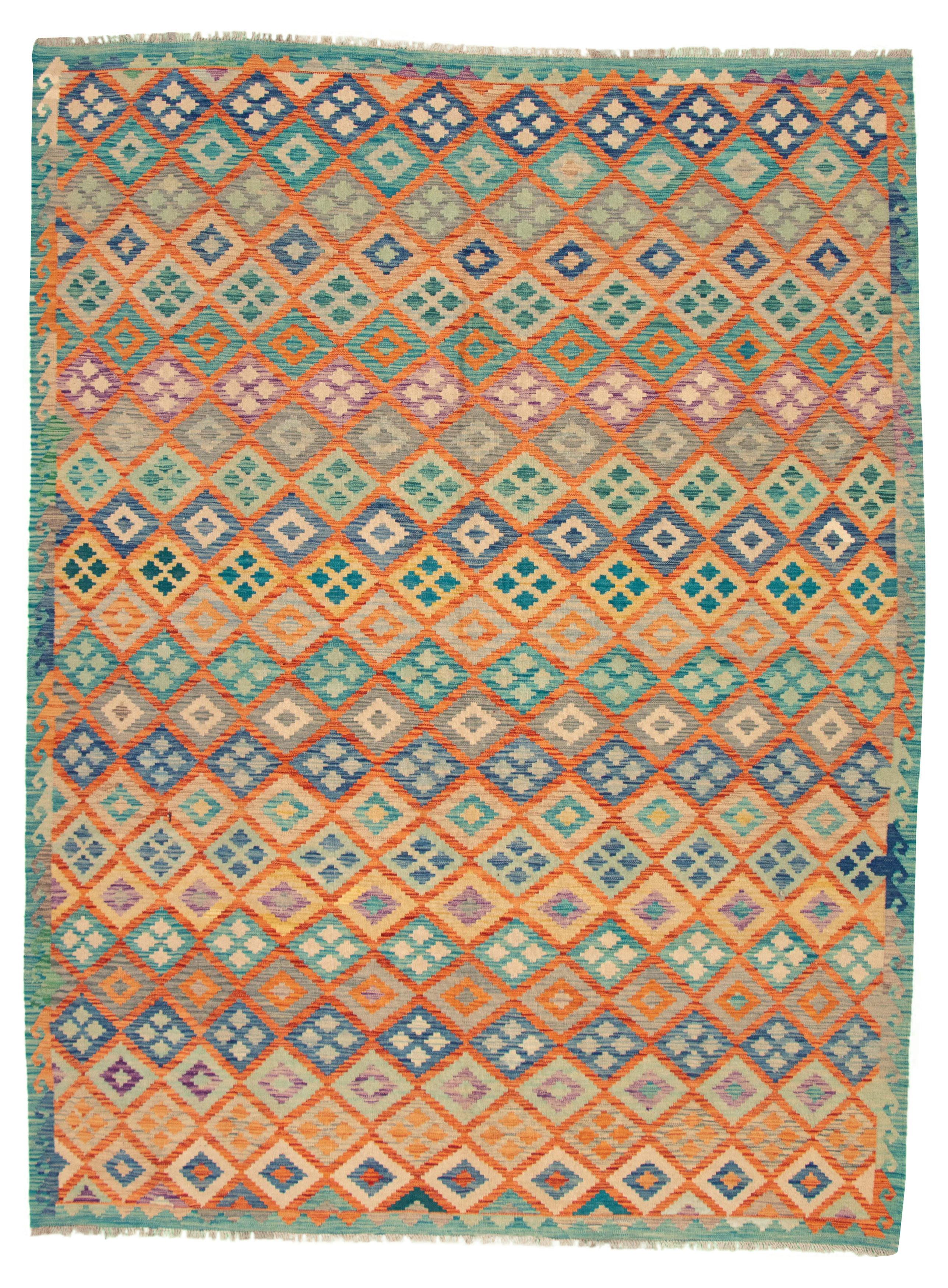 """Hand woven Bold and Colorful  Copper, Dark Blue Wool Kilim 8'7"""" x 11'3"""" Size: 8'7"""" x 11'3"""""""