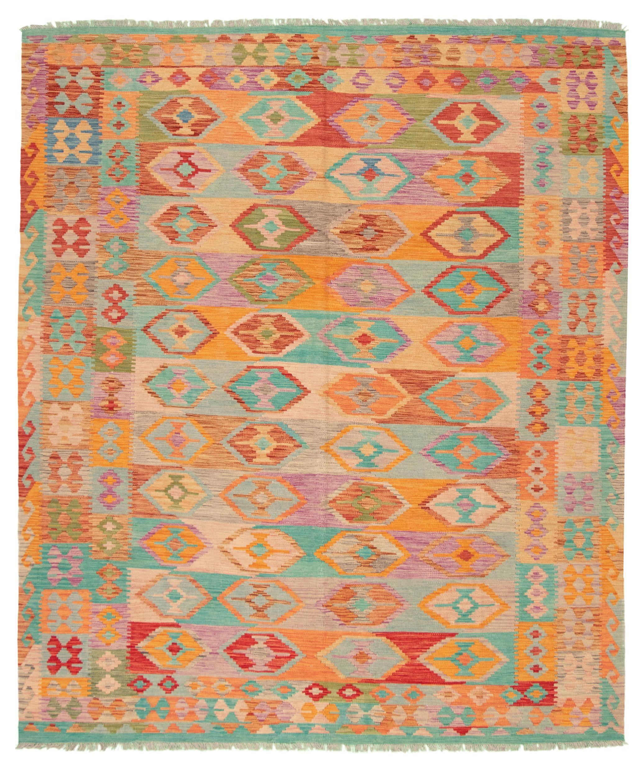 "Hand woven Bold and Colorful  Beige, Orange Wool Kilim 8'4"" x 10'2"" Size: 8'4"" x 10'2"""