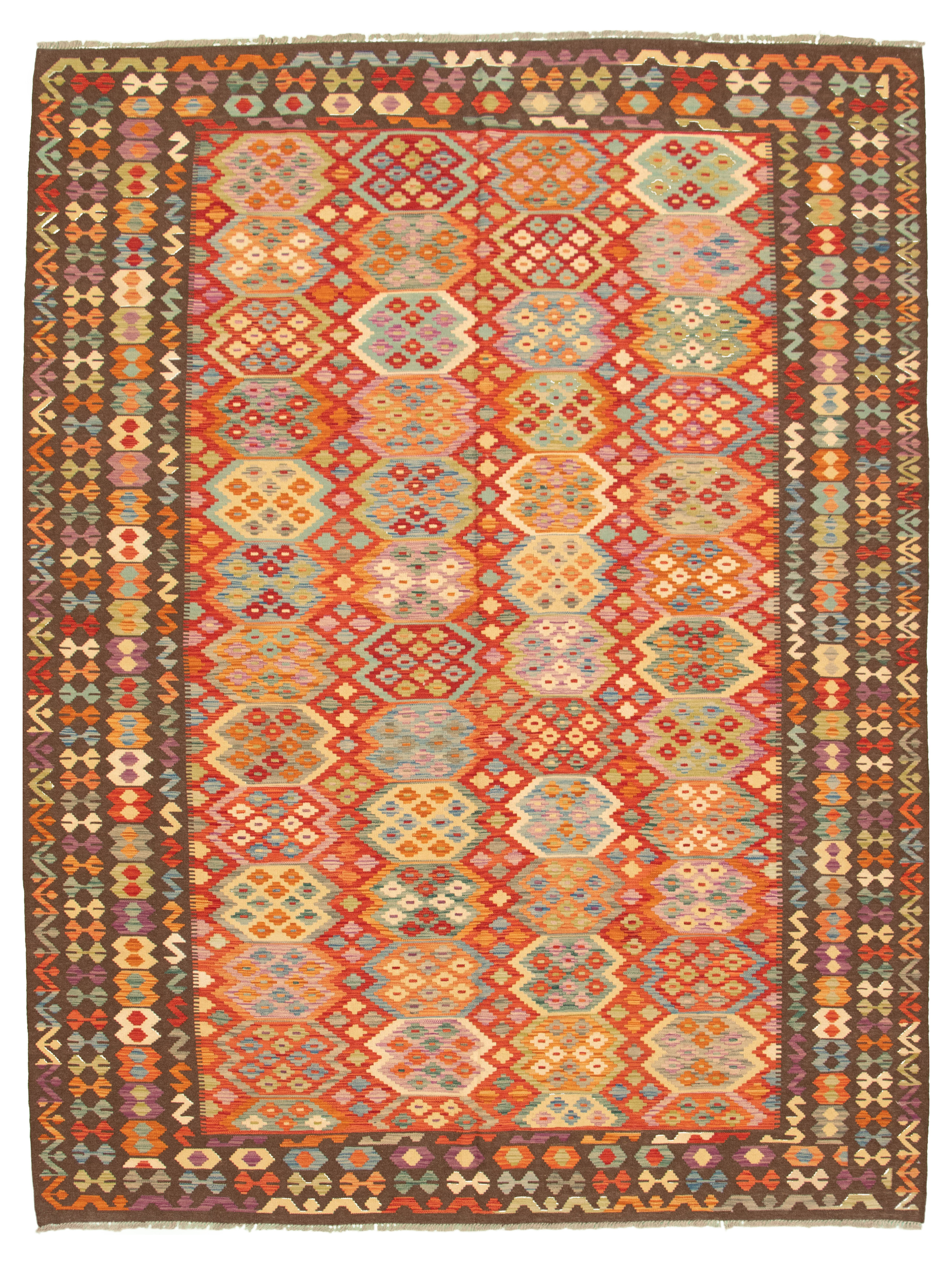 """Hand woven Bold and Colorful  Dark Red Wool Kilim 8'5"""" x 11'2"""" Size: 8'5"""" x 11'2"""""""