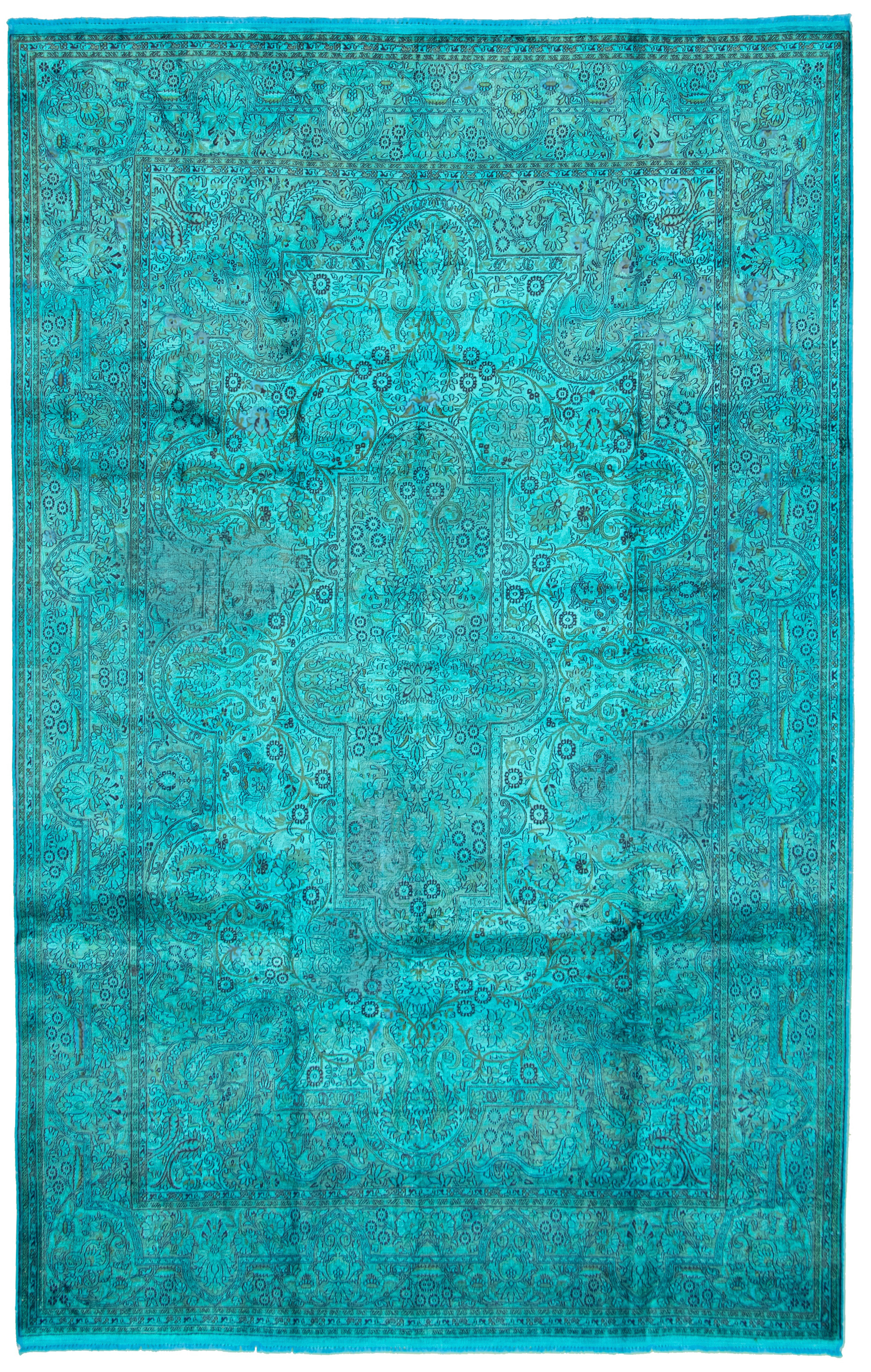 """Hand-knotted Color Transition Sky Blue Silk Rug 6'9"""" x 10'6"""" Size: 6'9"""" x 10'6"""""""