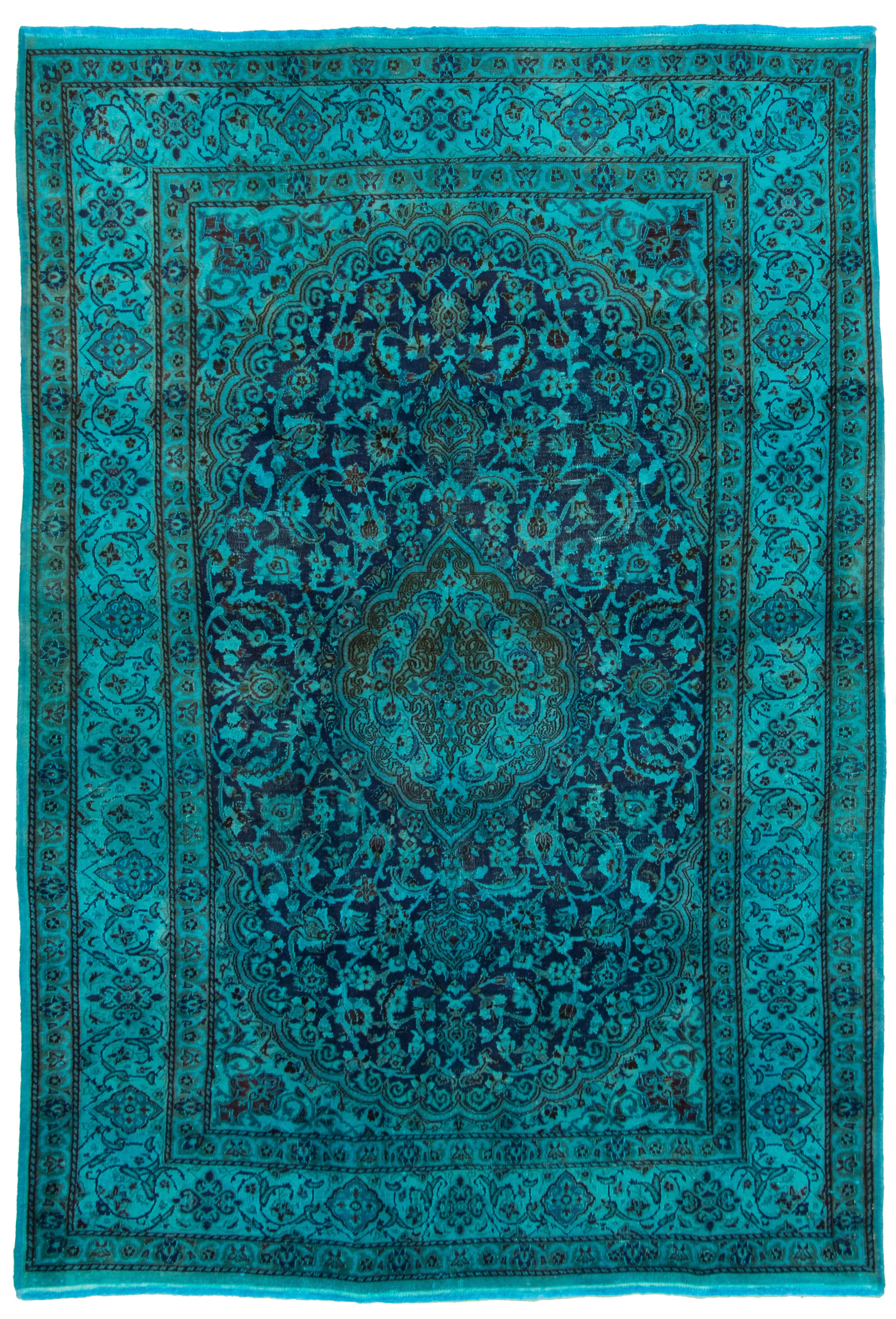 """Hand-knotted Color transition Blue, Dark Navy Wool Rug 6'4"""" x 9'5"""" Size: 6'4"""" x 9'5"""""""