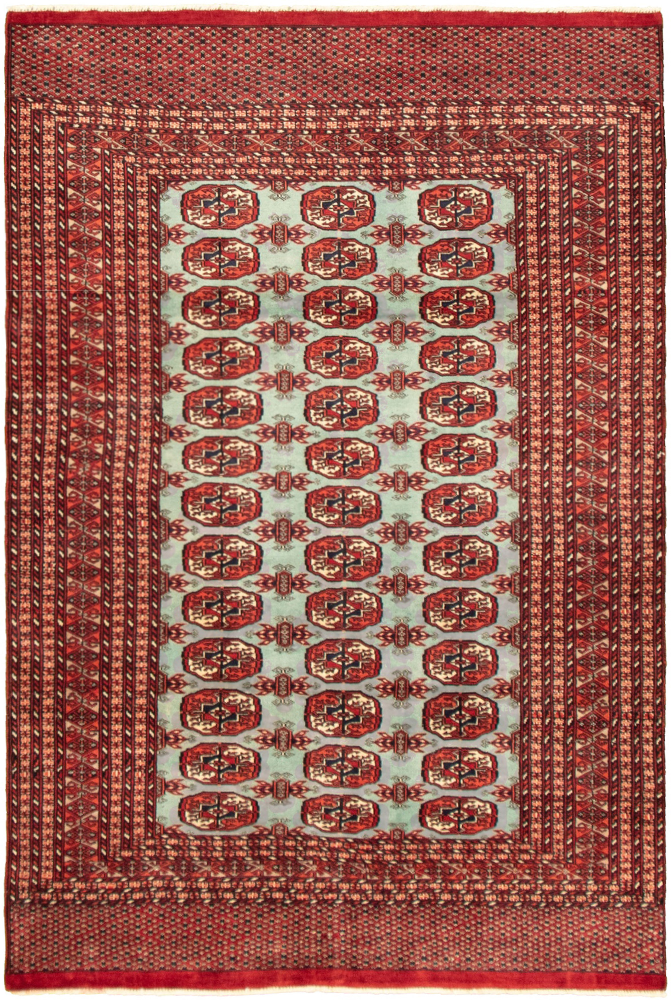 "Hand-knotted Peshawar Bokhara Light Blue  Wool Rug 4'0"" x 6'0"" Size: 4'0"" x 6'0"""