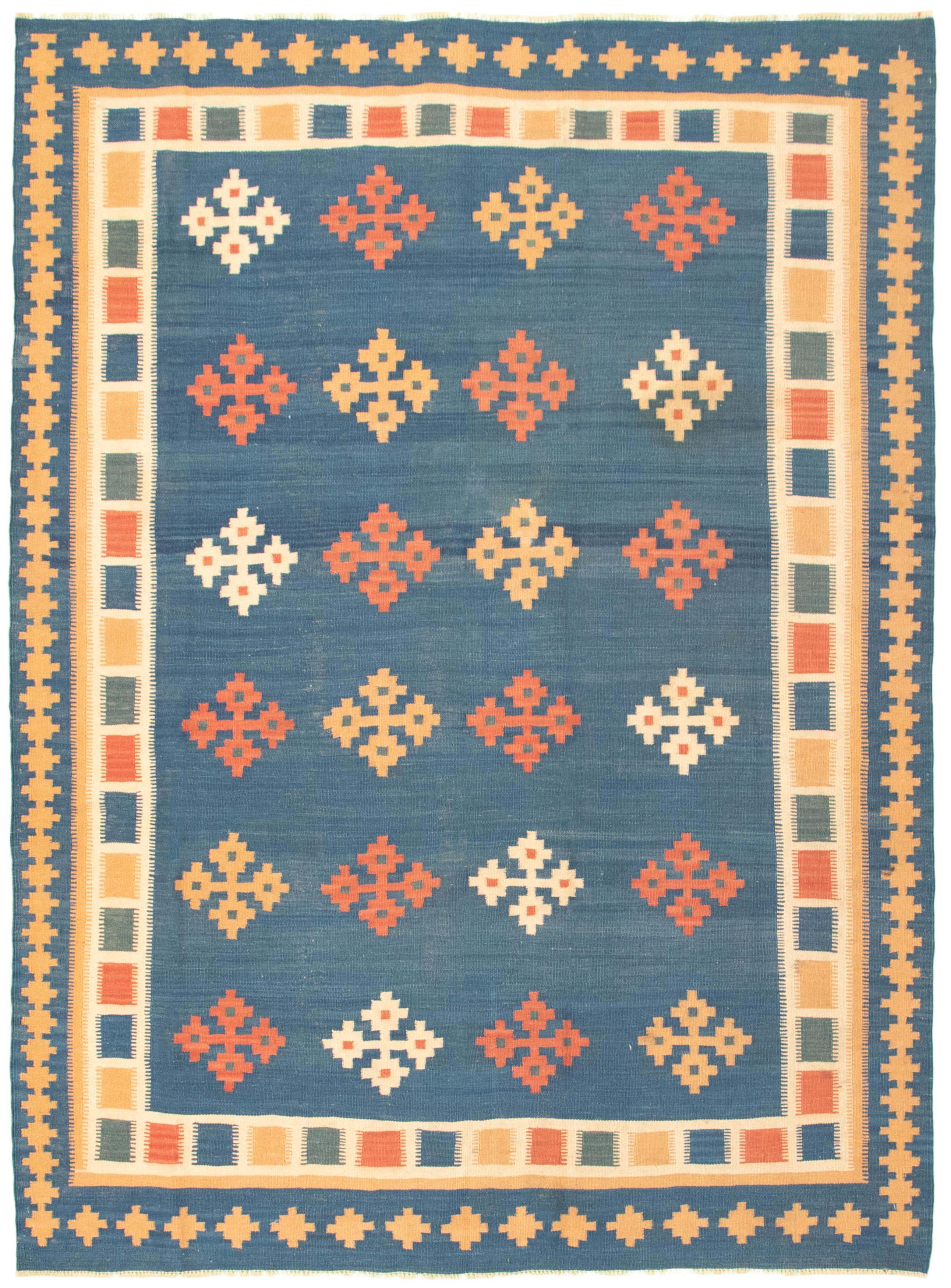 "Hand woven Ankara FW Navy Blue Wool Kilim 5'8"" x 7'9"" Size: 5'8"" x 7'9"""