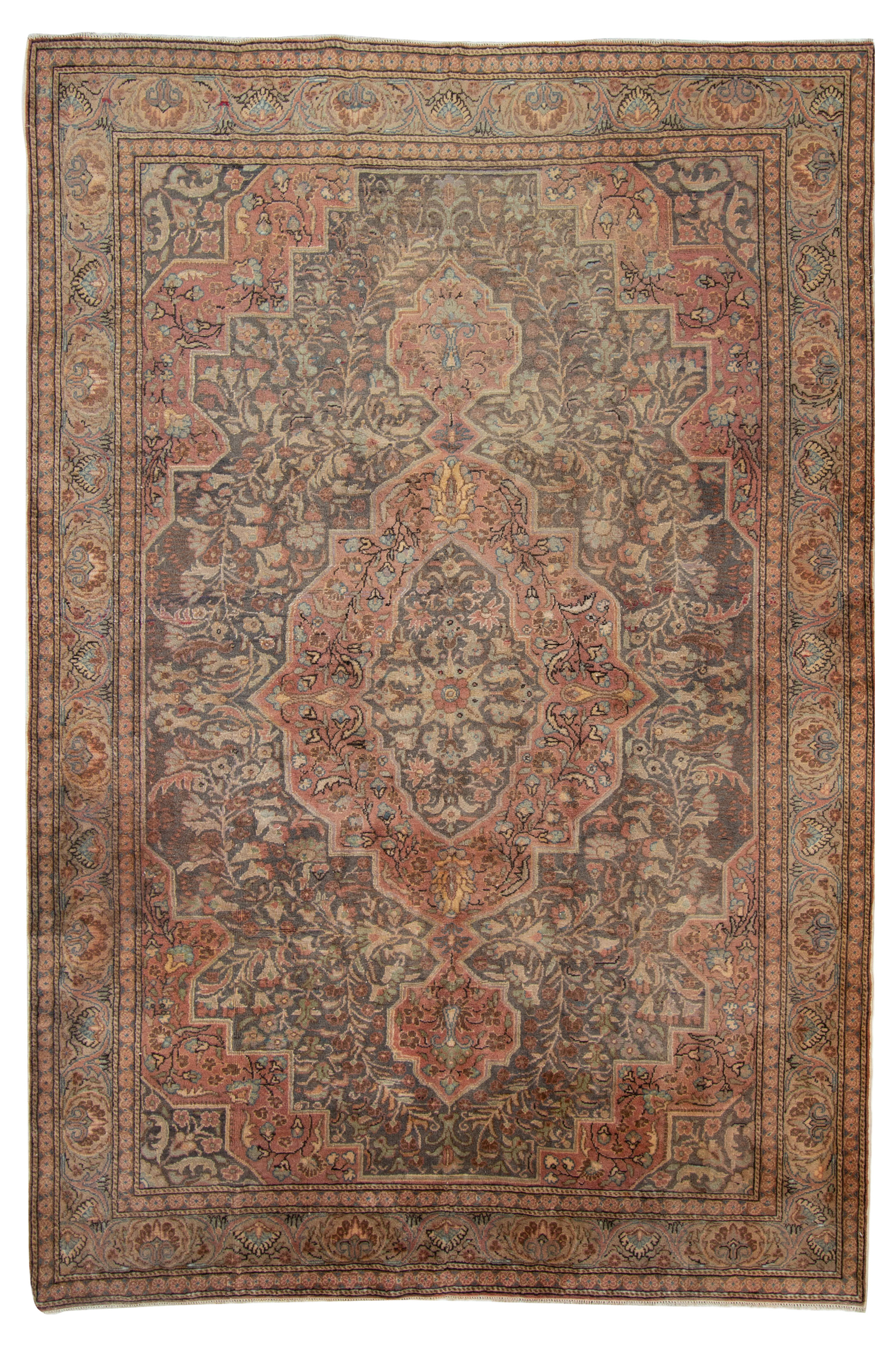 """Hand-knotted Keisari Vintage Blue, Ivory  Rug 6'4"""" x 9'4"""" Size: 6'4"""" x 9'4"""""""