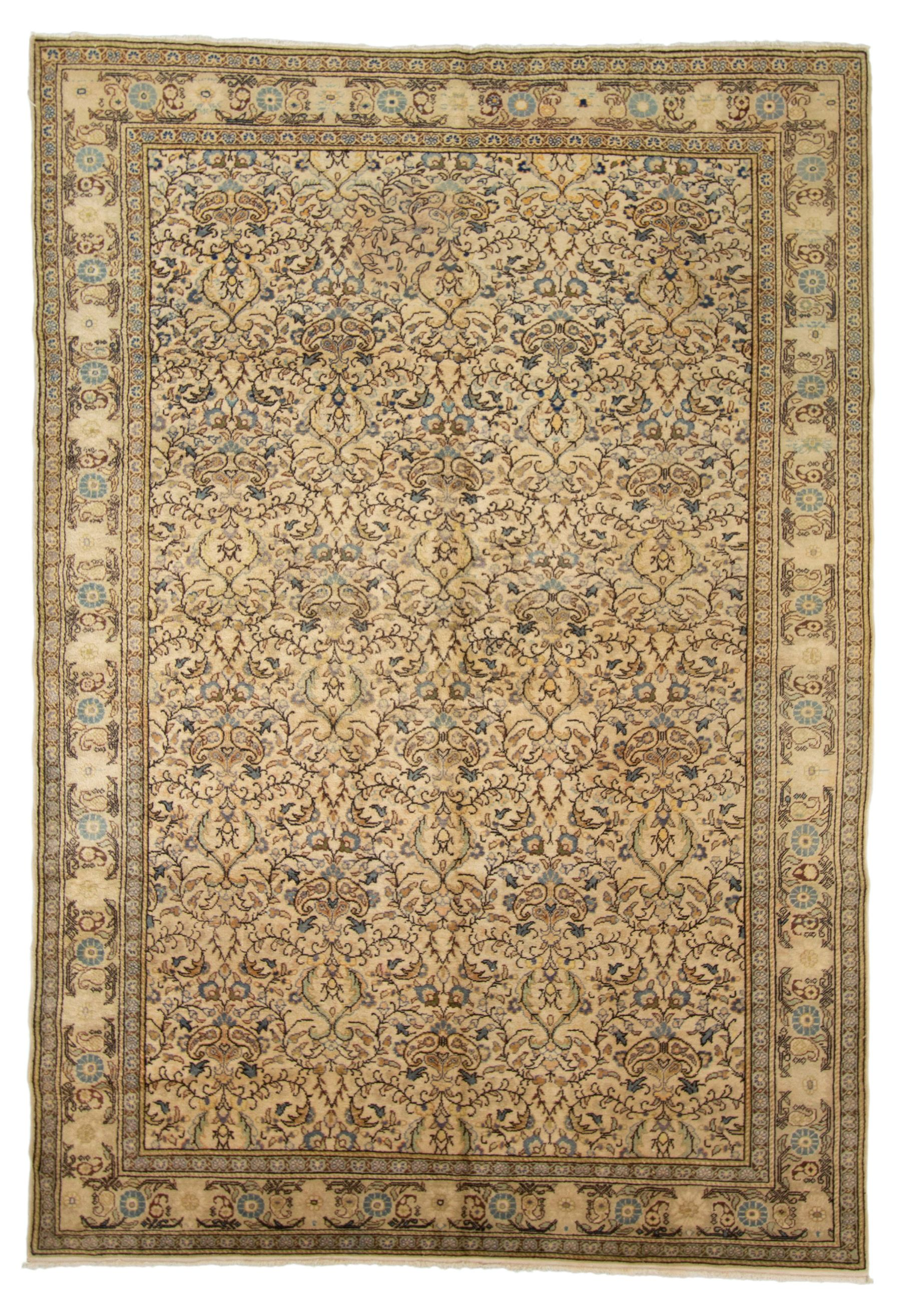 """Hand-knotted Keisari Vintage Brown, Ivory  Rug 6'7"""" x 9'6"""" Size: 6'7"""" x 9'6"""""""