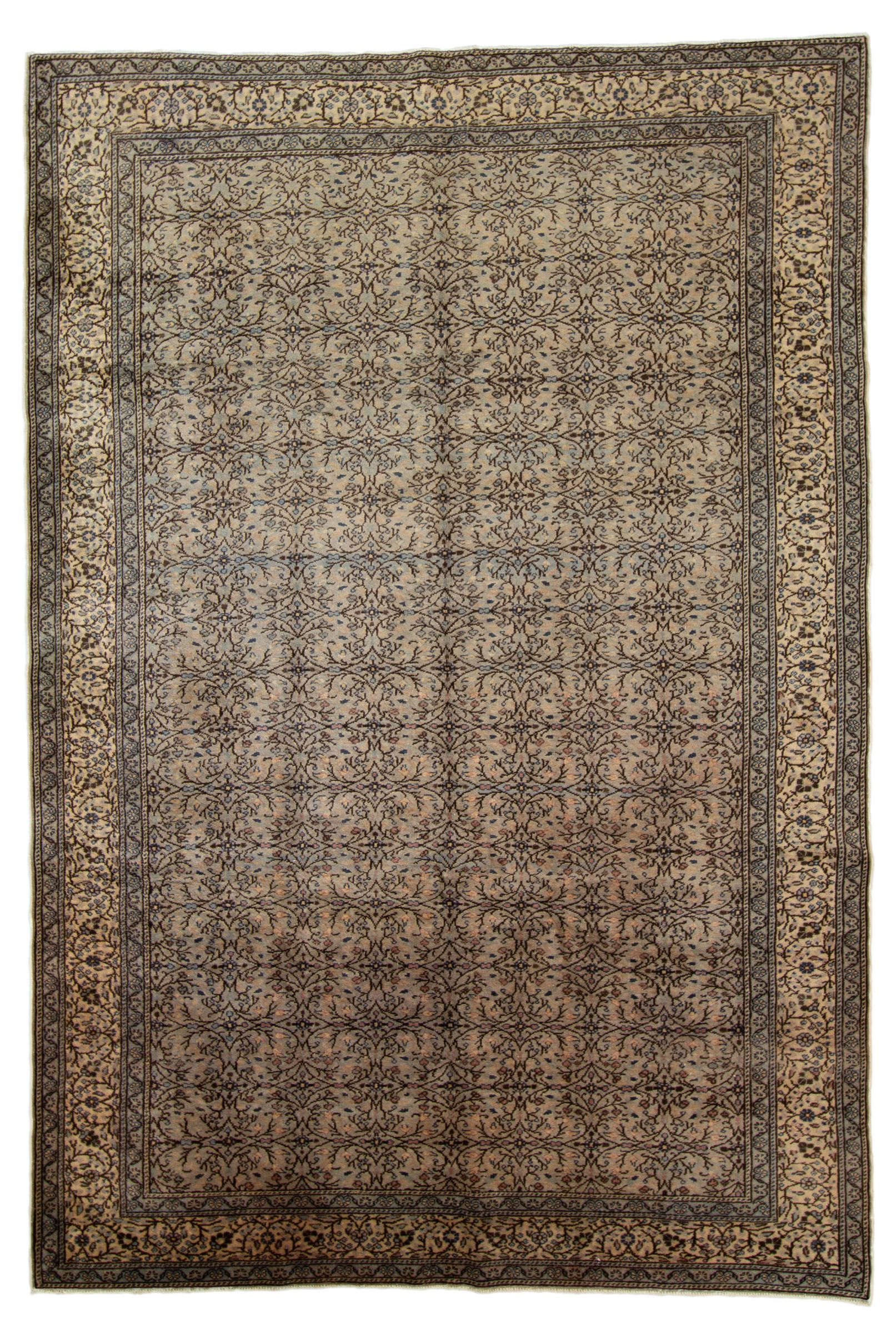 """Hand-knotted Keisari Vintage Blue, Ivory  Rug 6'5"""" x 9'5"""" Size: 6'5"""" x 9'5"""""""