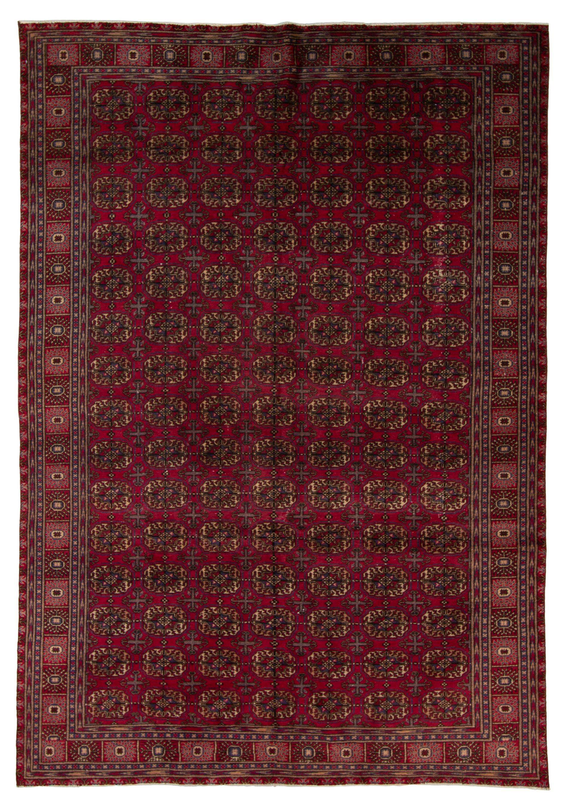 """Hand-knotted Keisari Vintage Blue, Red  Rug 6'3"""" x 9'2"""" Size: 6'3"""" x 9'2"""""""