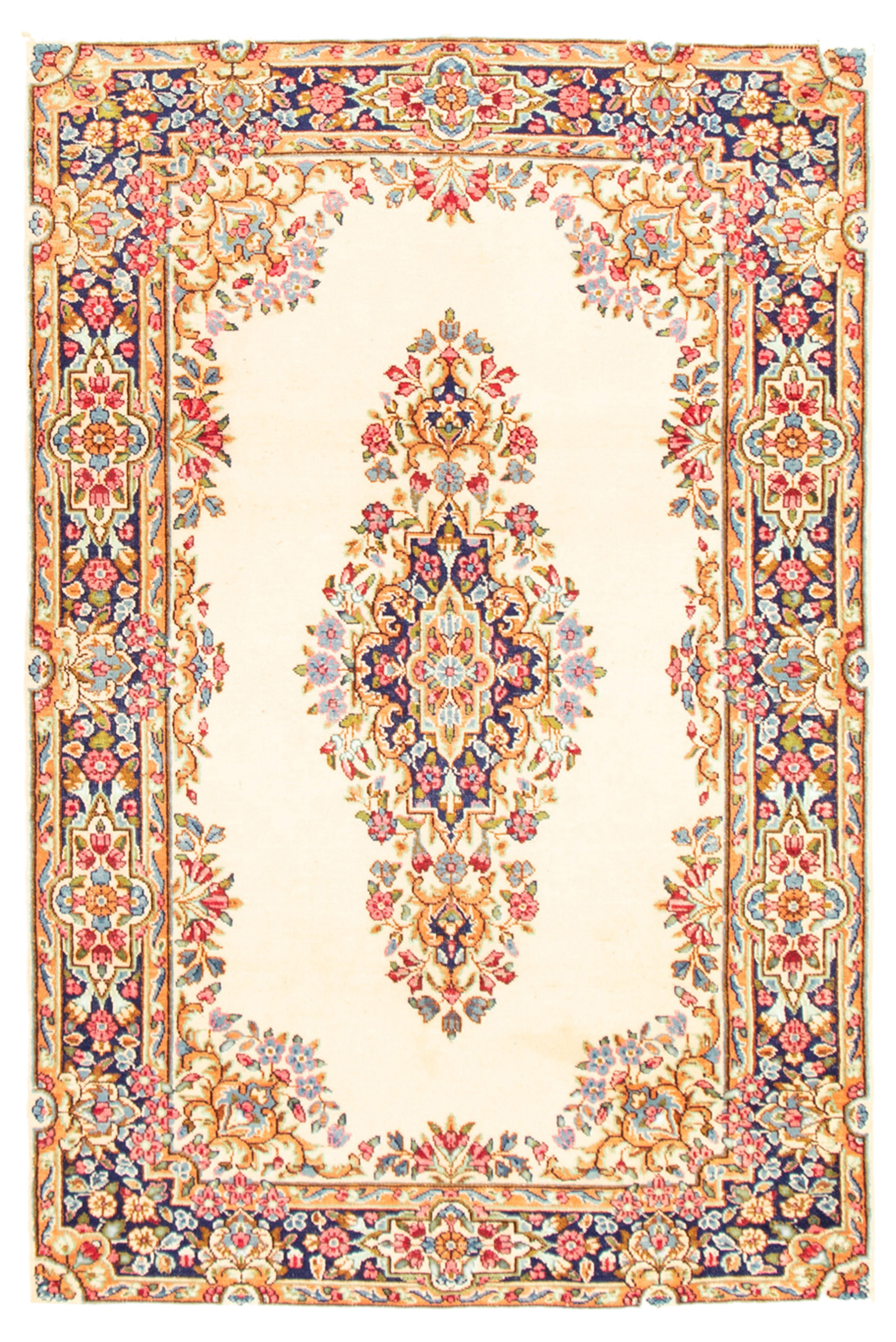 "Hand-knotted Royal Kerman Cream Wool Rug 4'0"" x 6'1"" Size: 4'0"" x 6'1"""