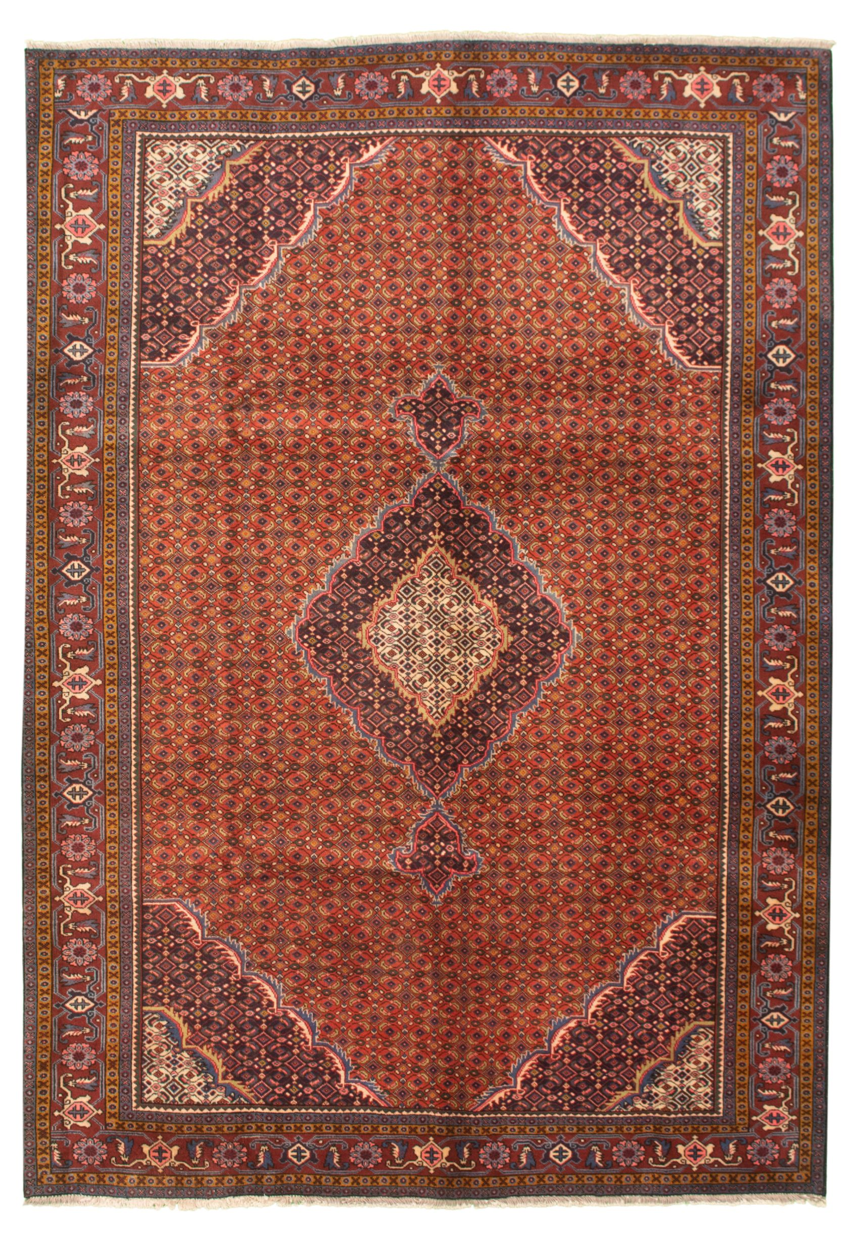 "Hand-knotted Authentic Turkish Red Wool Rug 6'6"" x 9'5"" Size: 6'6"" x 9'5"""