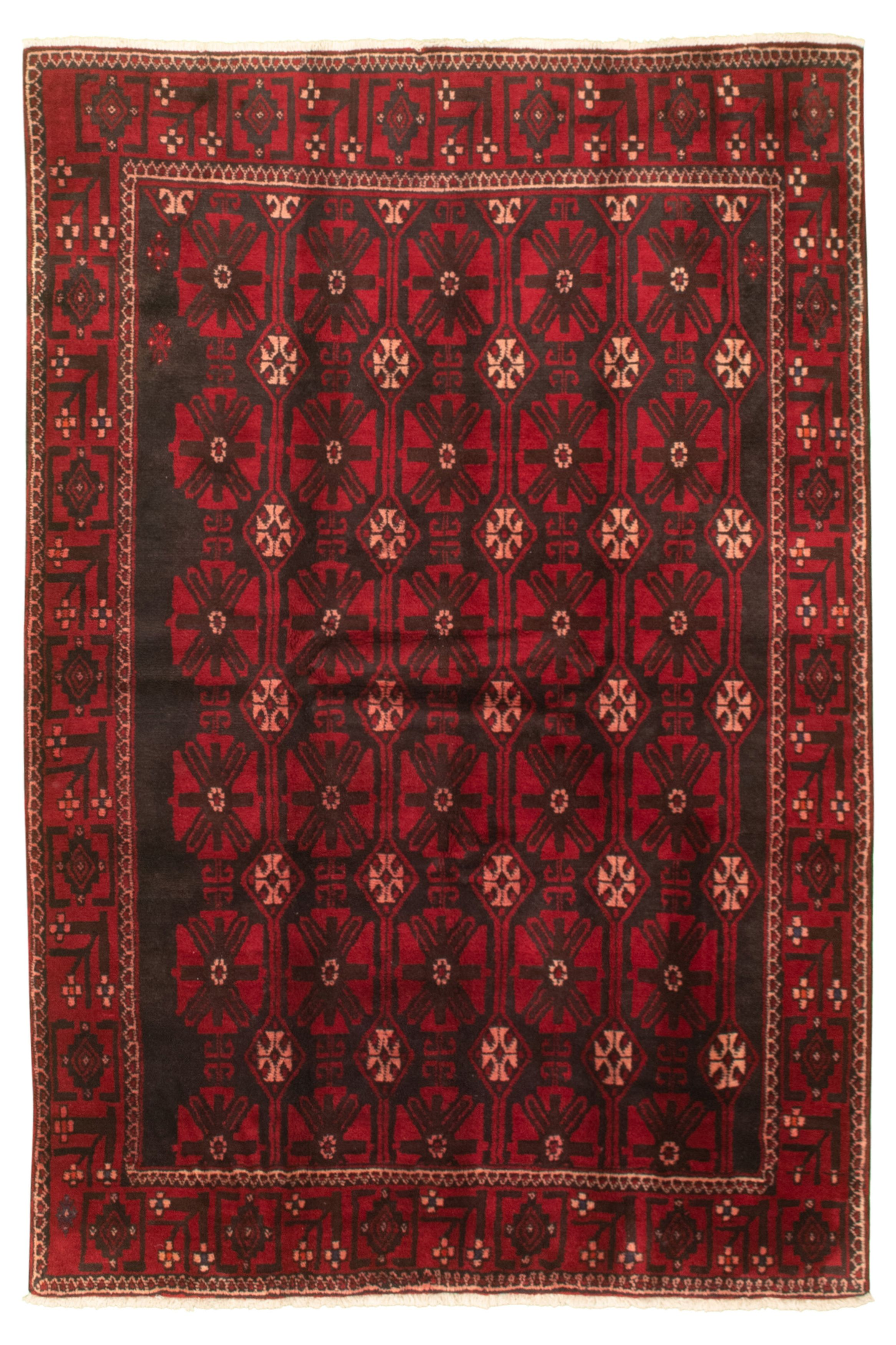 """Hand-knotted Authentic Turkish Black Wool Rug 4'8"""" x 6'11"""" Size: 4'8"""" x 6'11"""""""