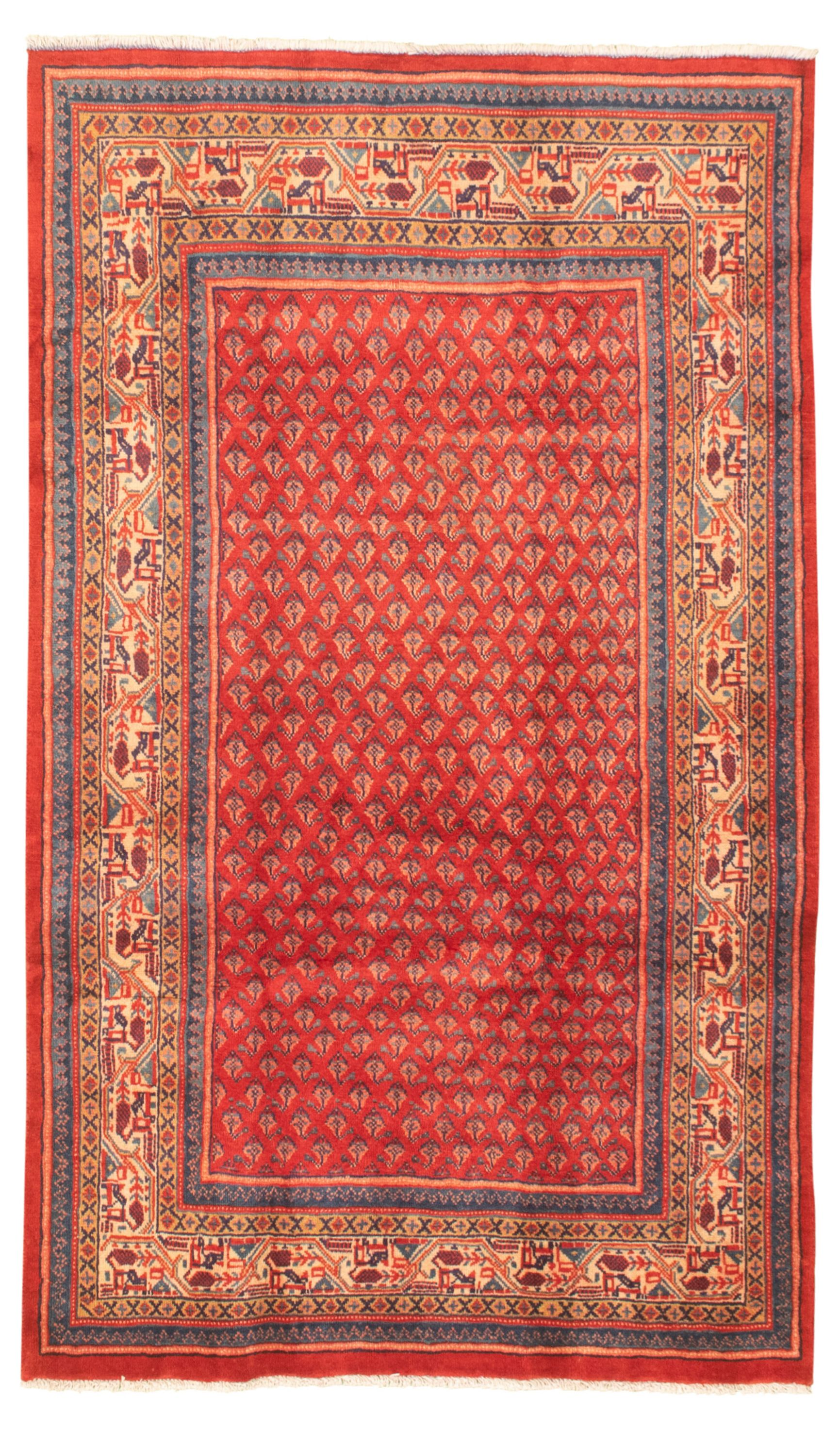 """Hand-knotted Authentic Turkish Red Wool Rug 4'1"""" x 7'0"""" Size: 4'1"""" x 7'0"""""""