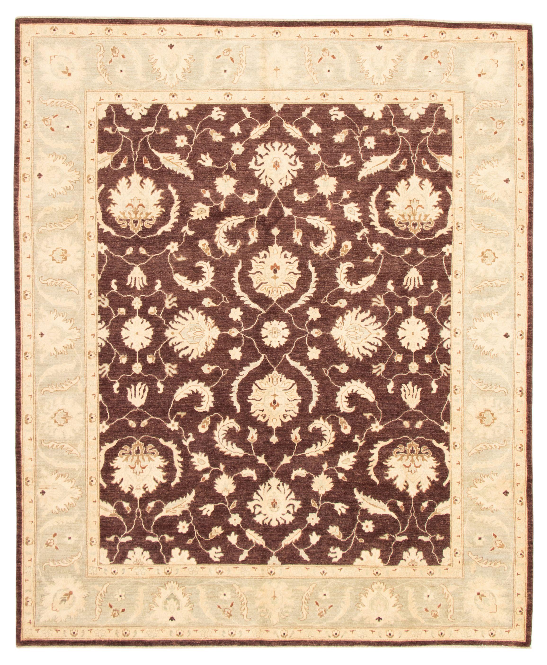 "Hand-knotted Chobi Finest Dark Brown Wool Rug 8'3"" x 9'9"" Size: 8'3"" x 9'9"""