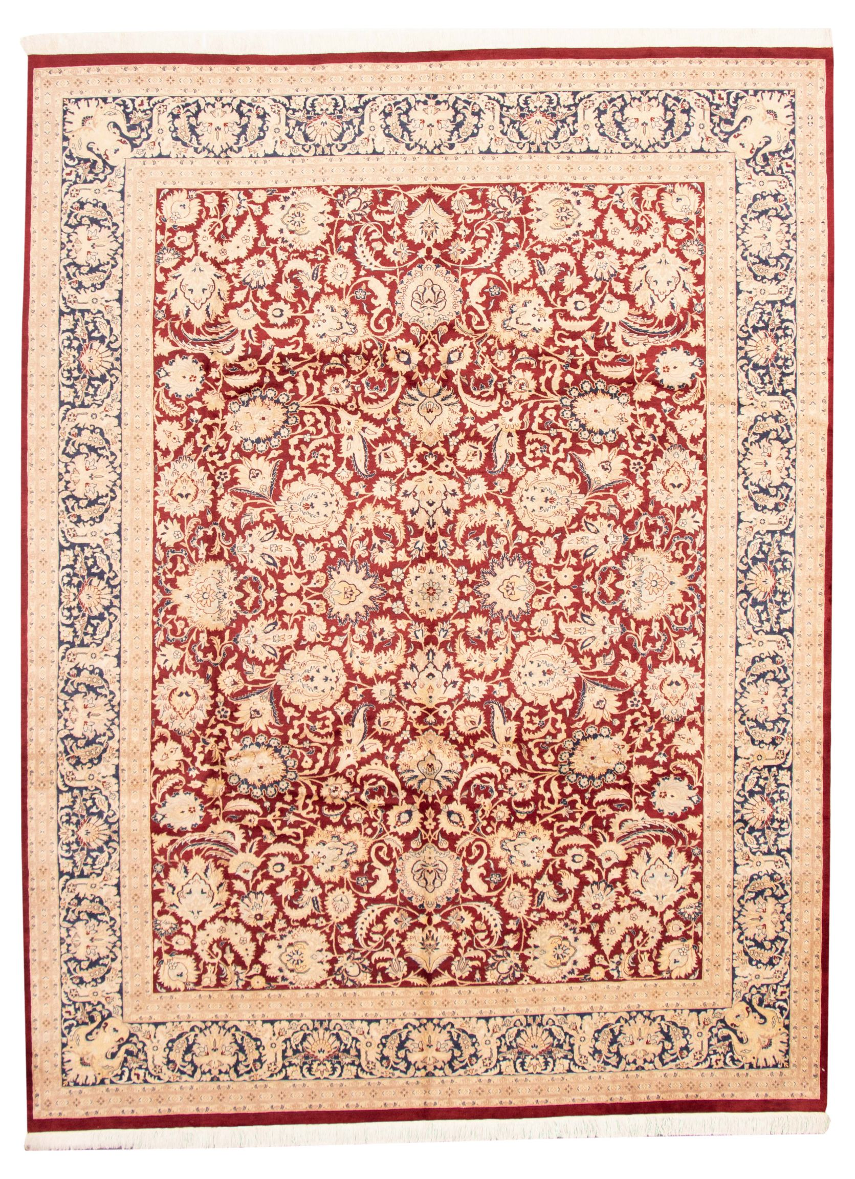 "Hand-knotted Pako Persian 18/20 Dark Red Wool Rug 9'1"" x 12'0"" Size: 9'1"" x 12'0"""