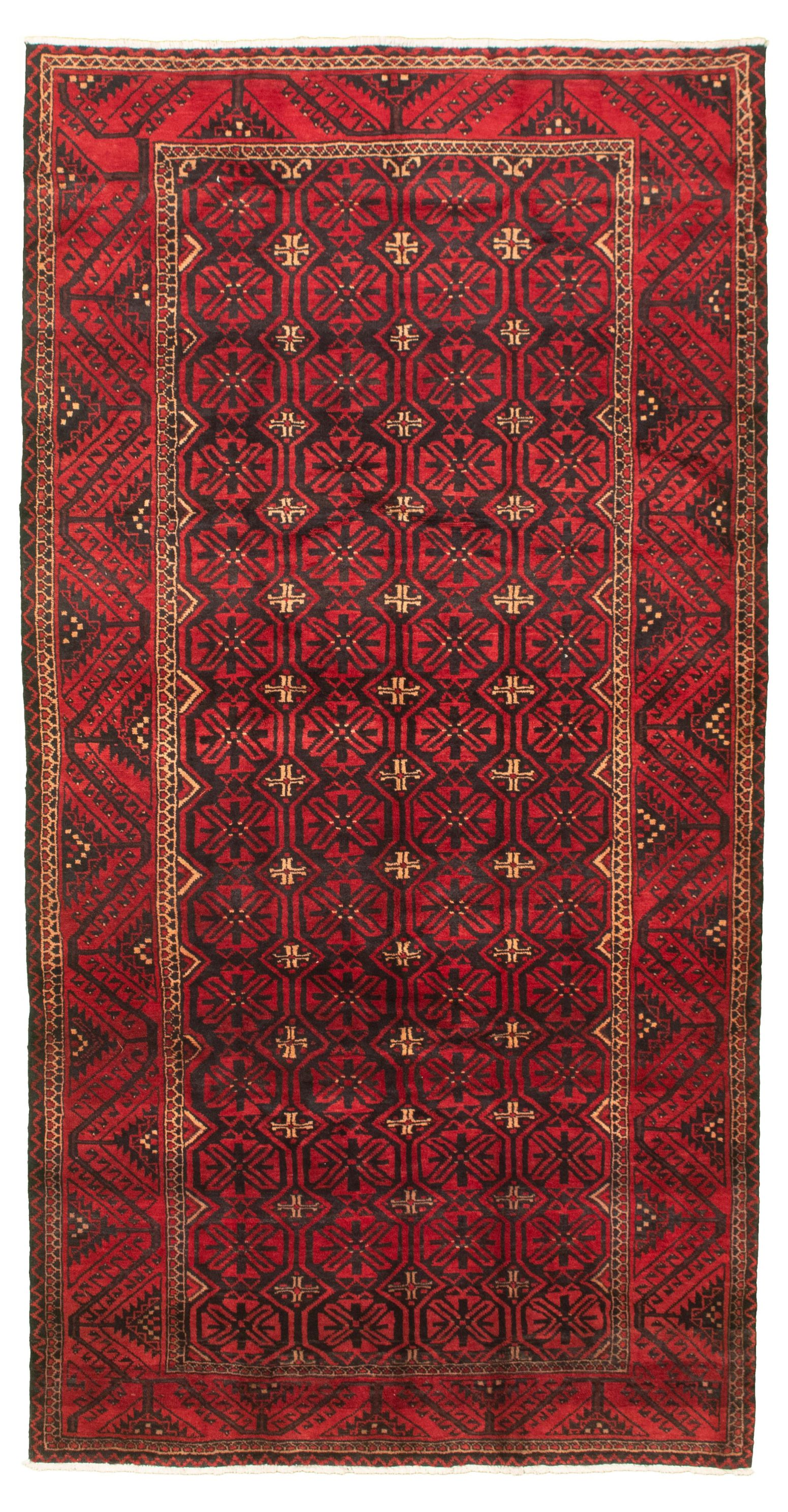 """Hand-knotted Authentic Turkish Red Wool Rug 5'0"""" x 9'8"""" Size: 5'0"""" x 9'8"""""""