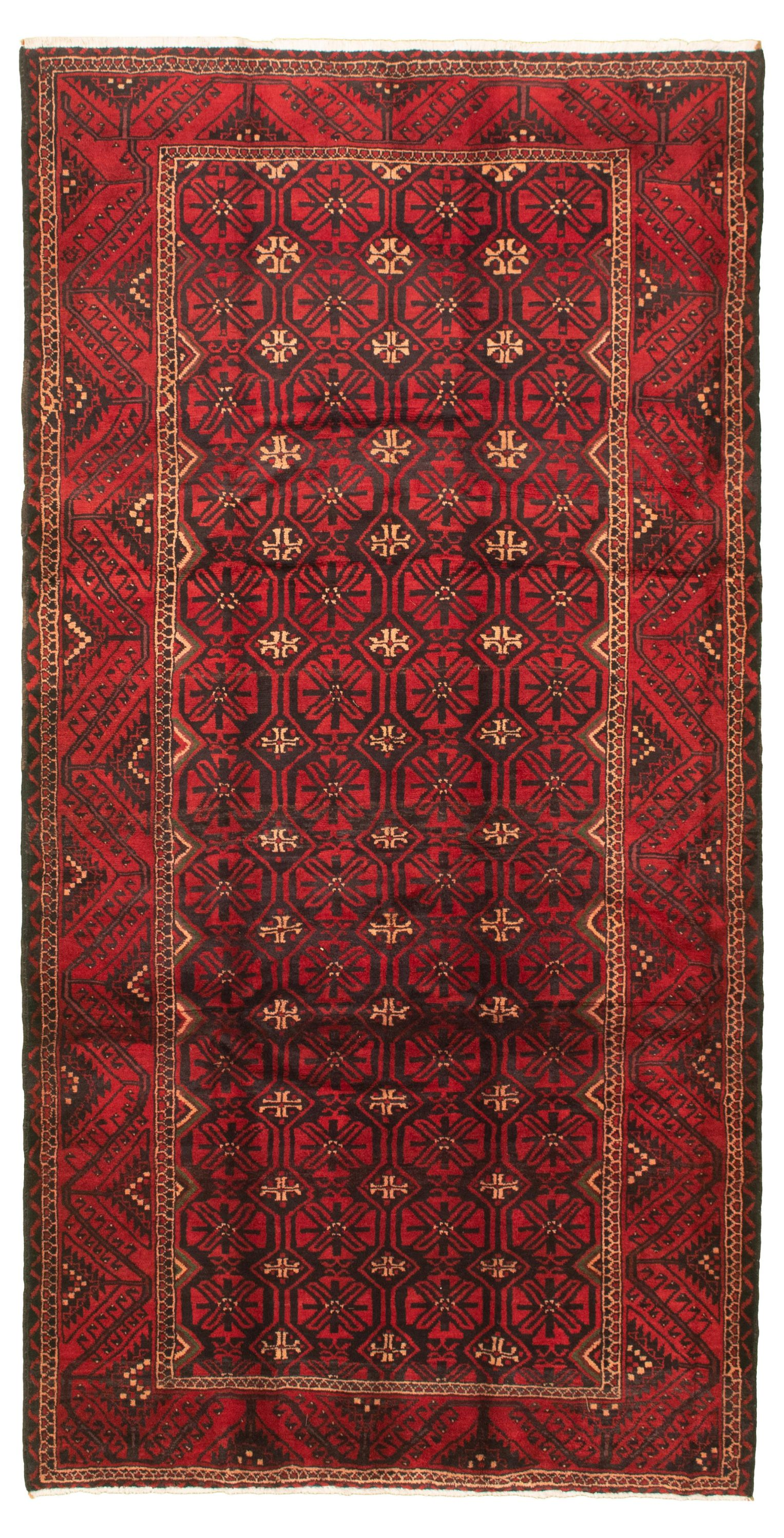"""Hand-knotted Authentic Turkish Red Wool Rug 5'1"""" x 9'8"""" Size: 5'1"""" x 9'8"""""""