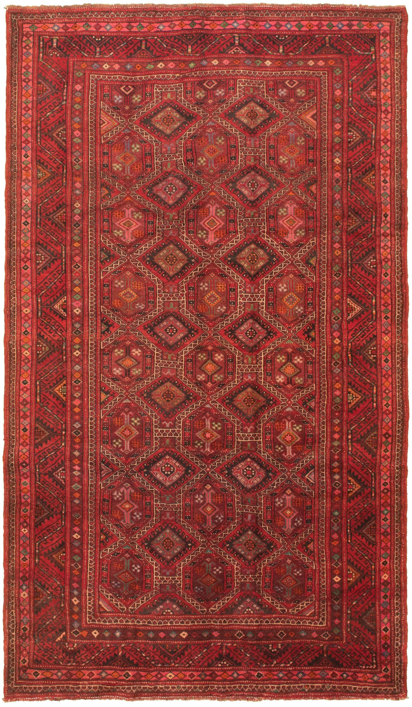 """Hand-knotted Authentic Turkish Red Wool Rug 5'4"""" x 9'6"""" Size: 5'4"""" x 9'6"""""""