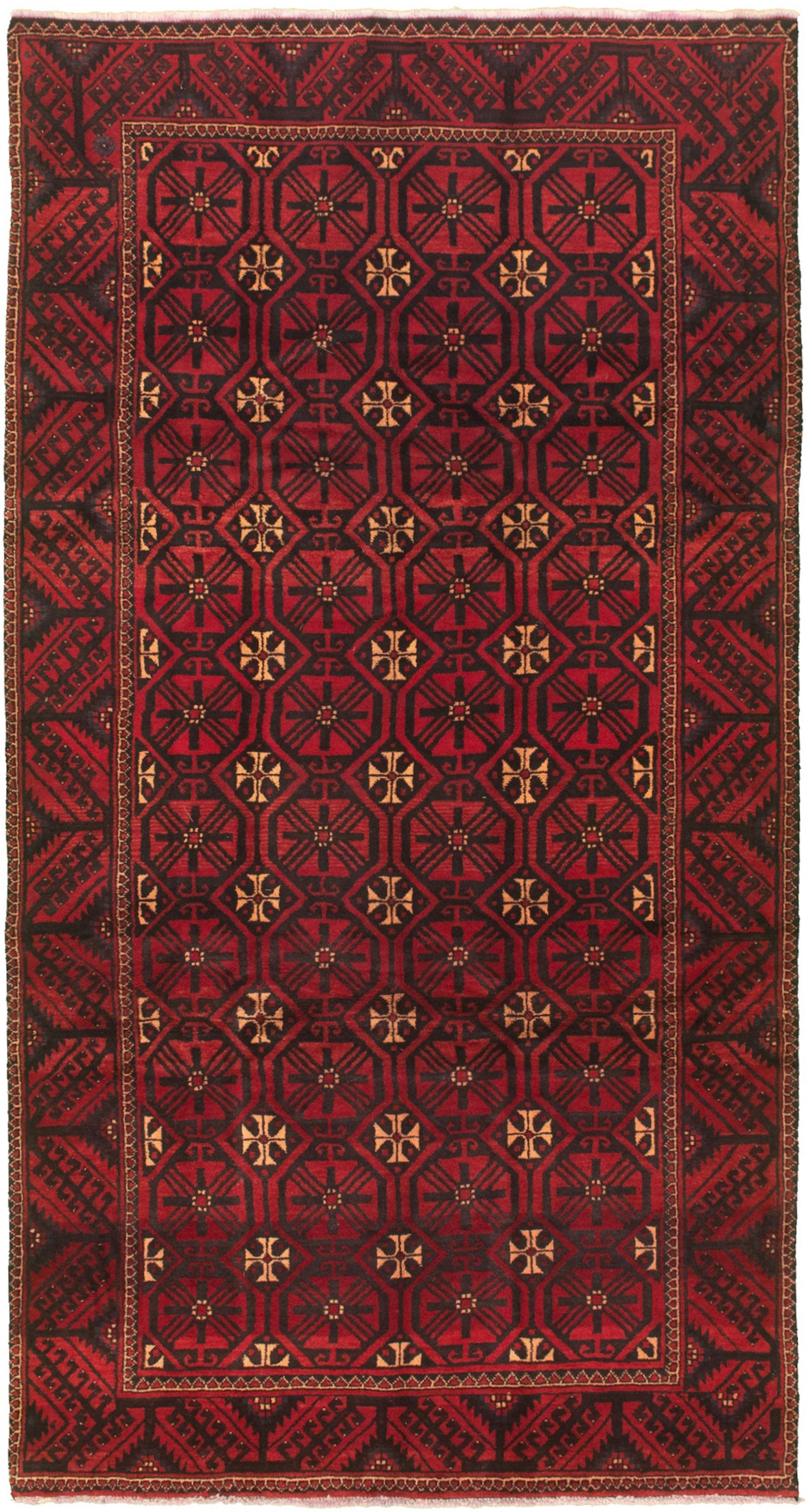 """Hand-knotted Authentic Turkish Red Wool Rug 5'1"""" x 9'6""""  Size: 5'1"""" x 9'6"""""""