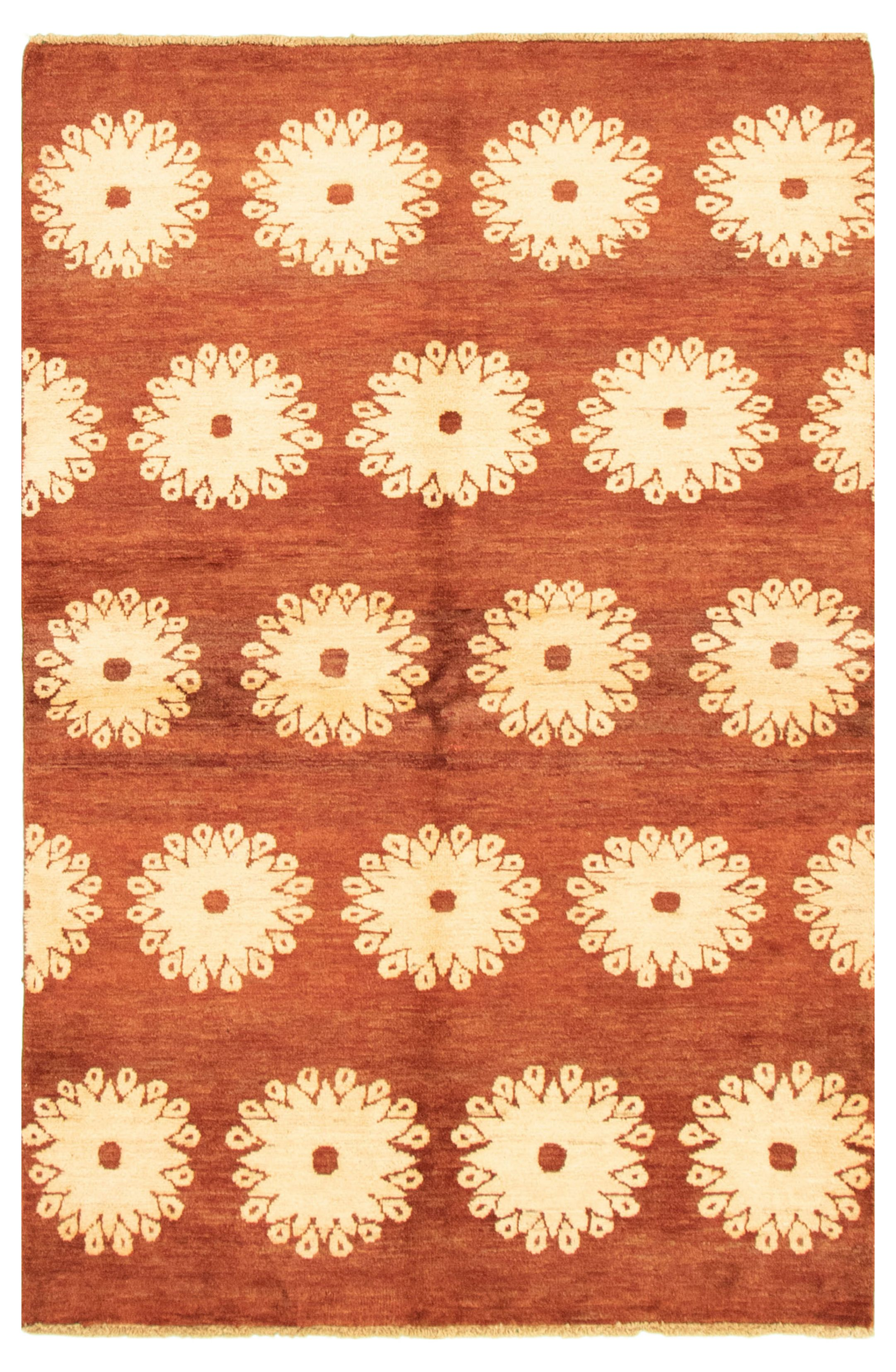 """Hand-knotted Peshawar Ziegler Dark Copper Wool Rug 3'10"""" x 5'9"""" Size: 3'10"""" x 5'9"""""""