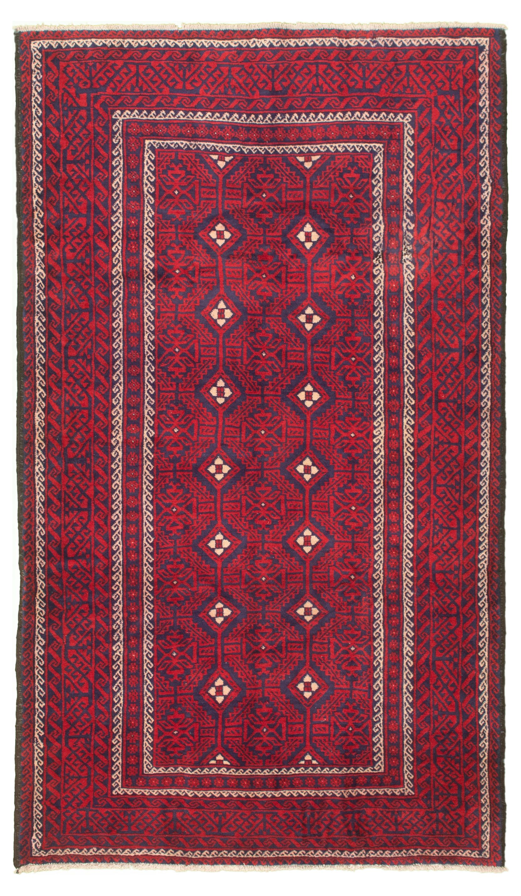 """Hand-knotted Authentic Turkish Red Wool Rug 5'1"""" x 9'0"""" Size: 5'1"""" x 9'0"""""""