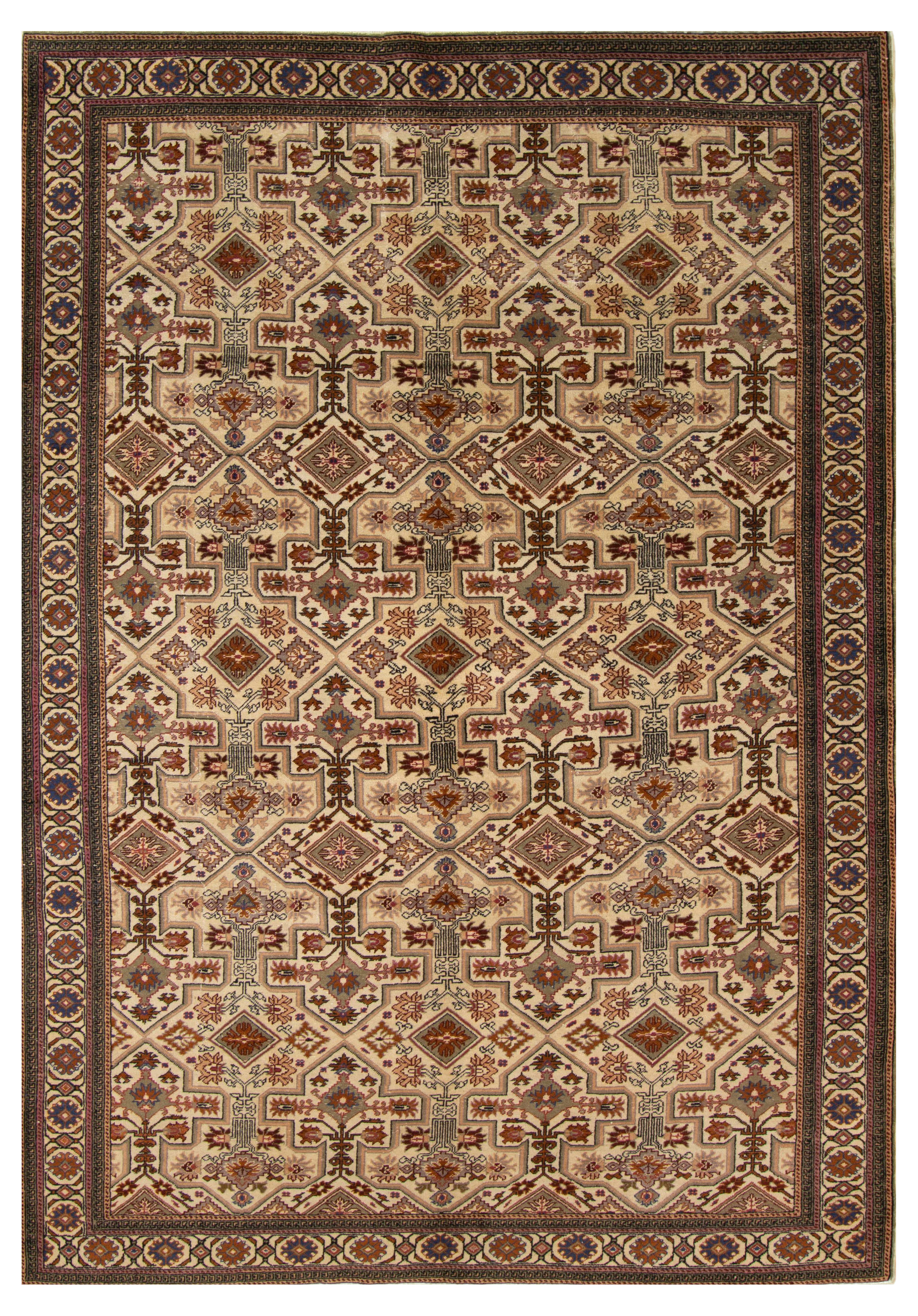 """Hand-knotted Keisari Vintage Blue, Ivory  Rug 6'4"""" x 9'6"""" Size: 6'4"""" x 9'6"""""""