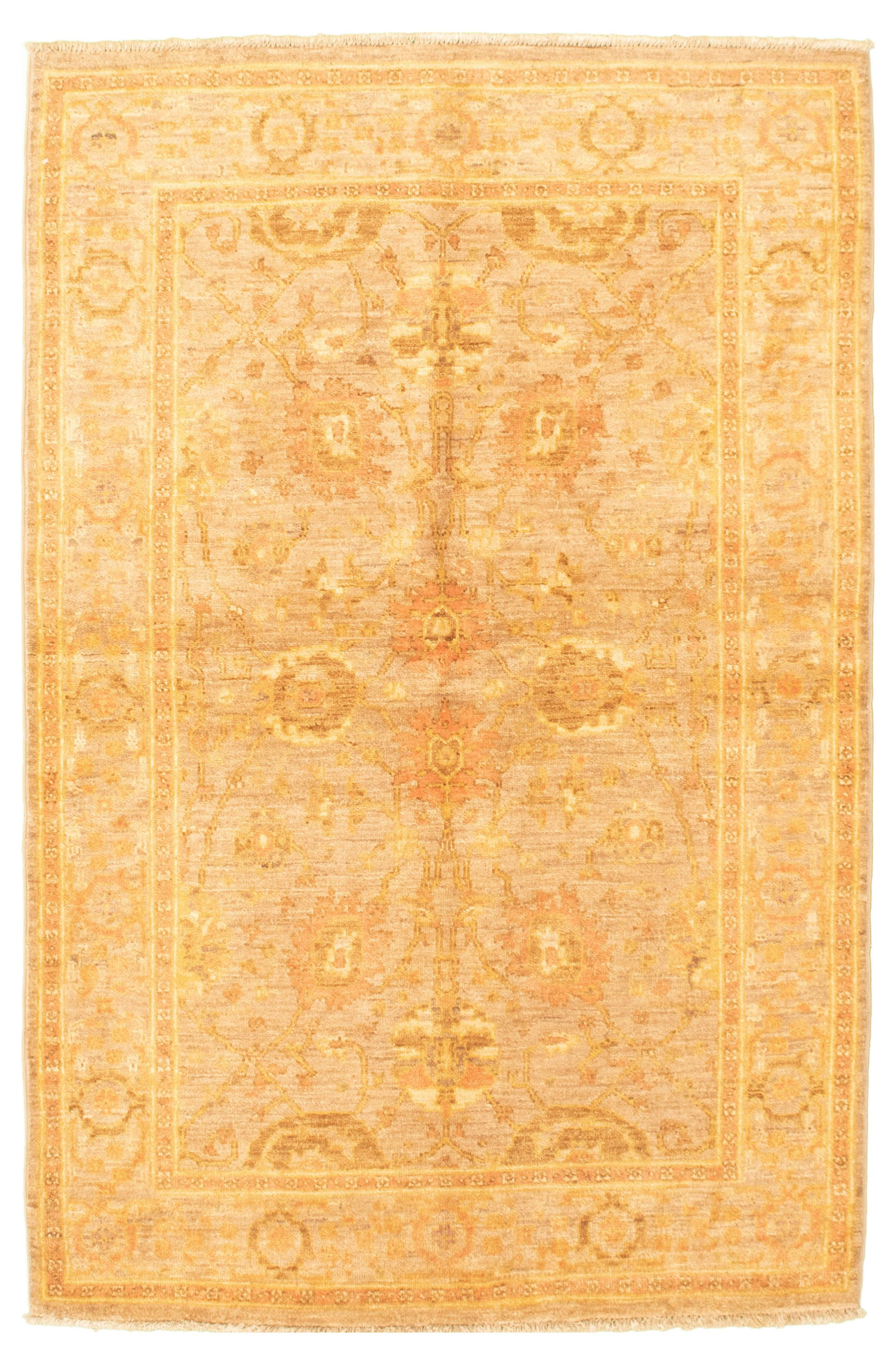 """Hand-knotted Chobi Finest Beige Wool Rug 4'1"""" x 6'4"""" Size: 4'1"""" x 6'4"""""""