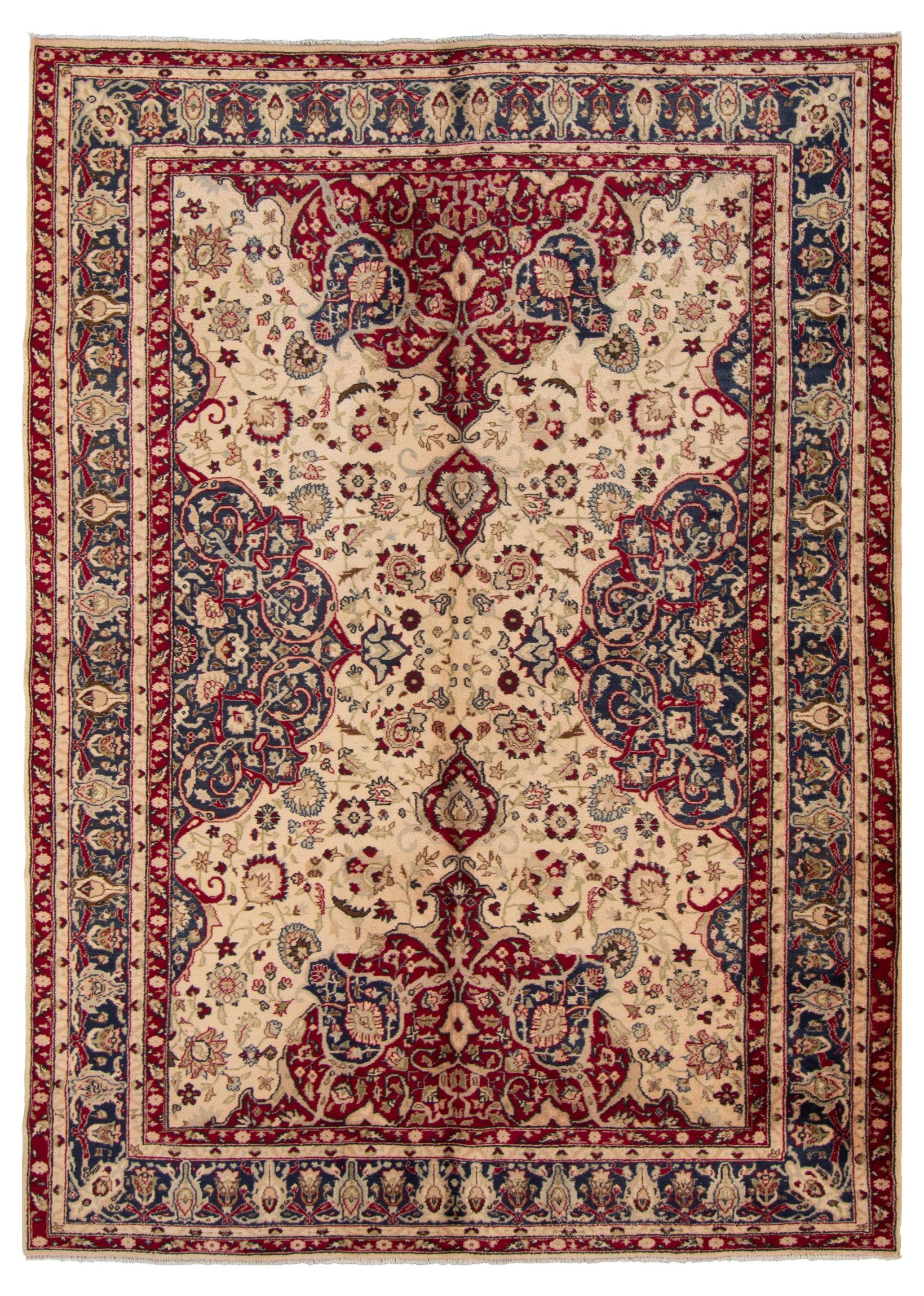 """Hand-knotted Keisari Vintage Blue, Ivory  Rug 6'1"""" x 8'10"""" Size: 6'1"""" x 8'10"""""""